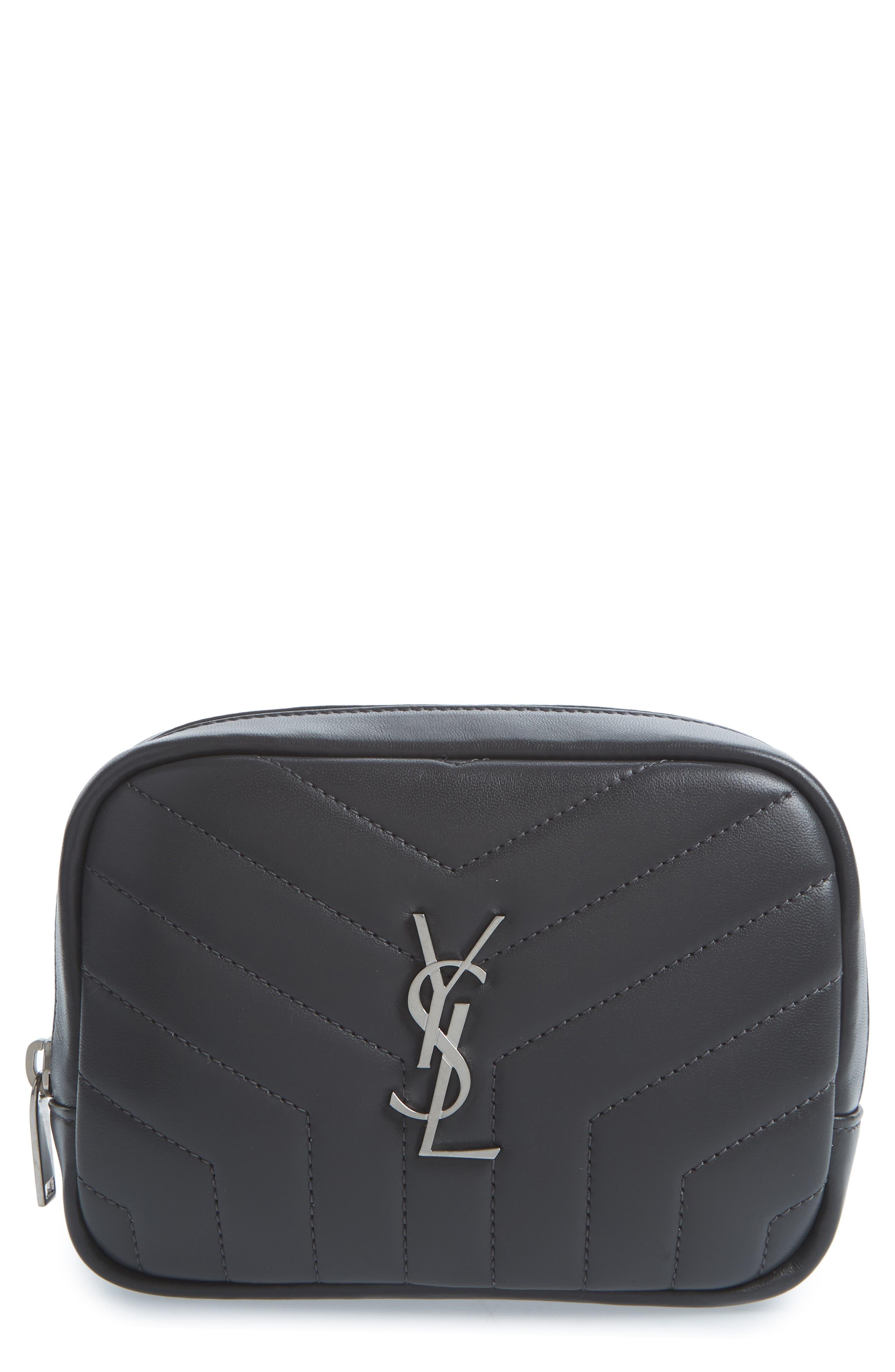 Loulou Matelassé Leather Cosmetics Bag,                             Main thumbnail 1, color,                             Storm