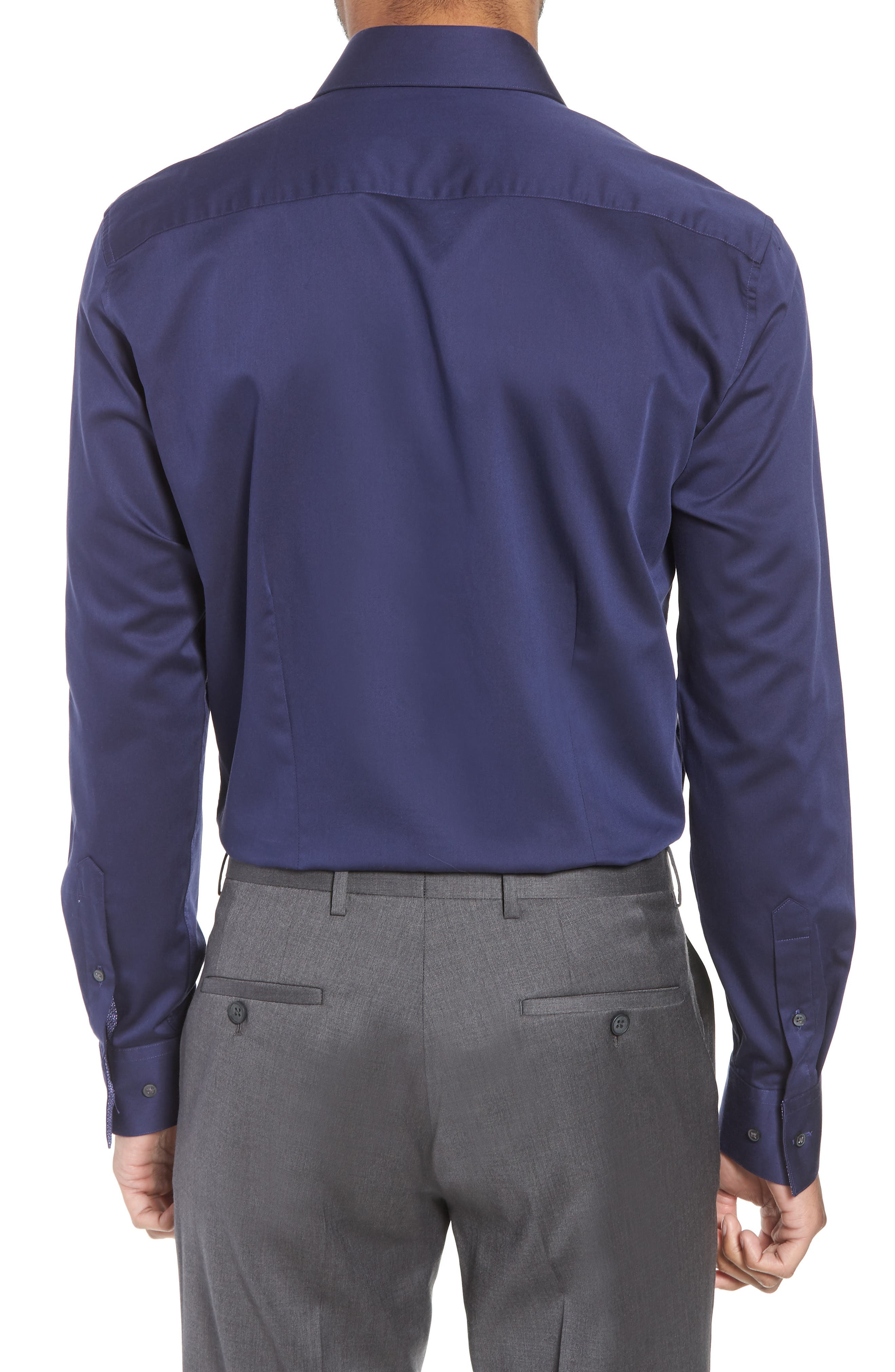 Endurance Bookers Slim Fit Solid Dress Shirt,                             Alternate thumbnail 3, color,                             Navy