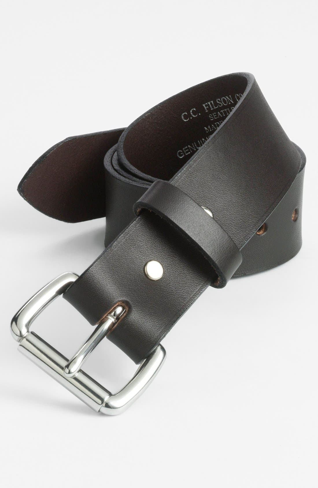 Leather Belt,                             Alternate thumbnail 2, color,                             Brown/Stainless Steel