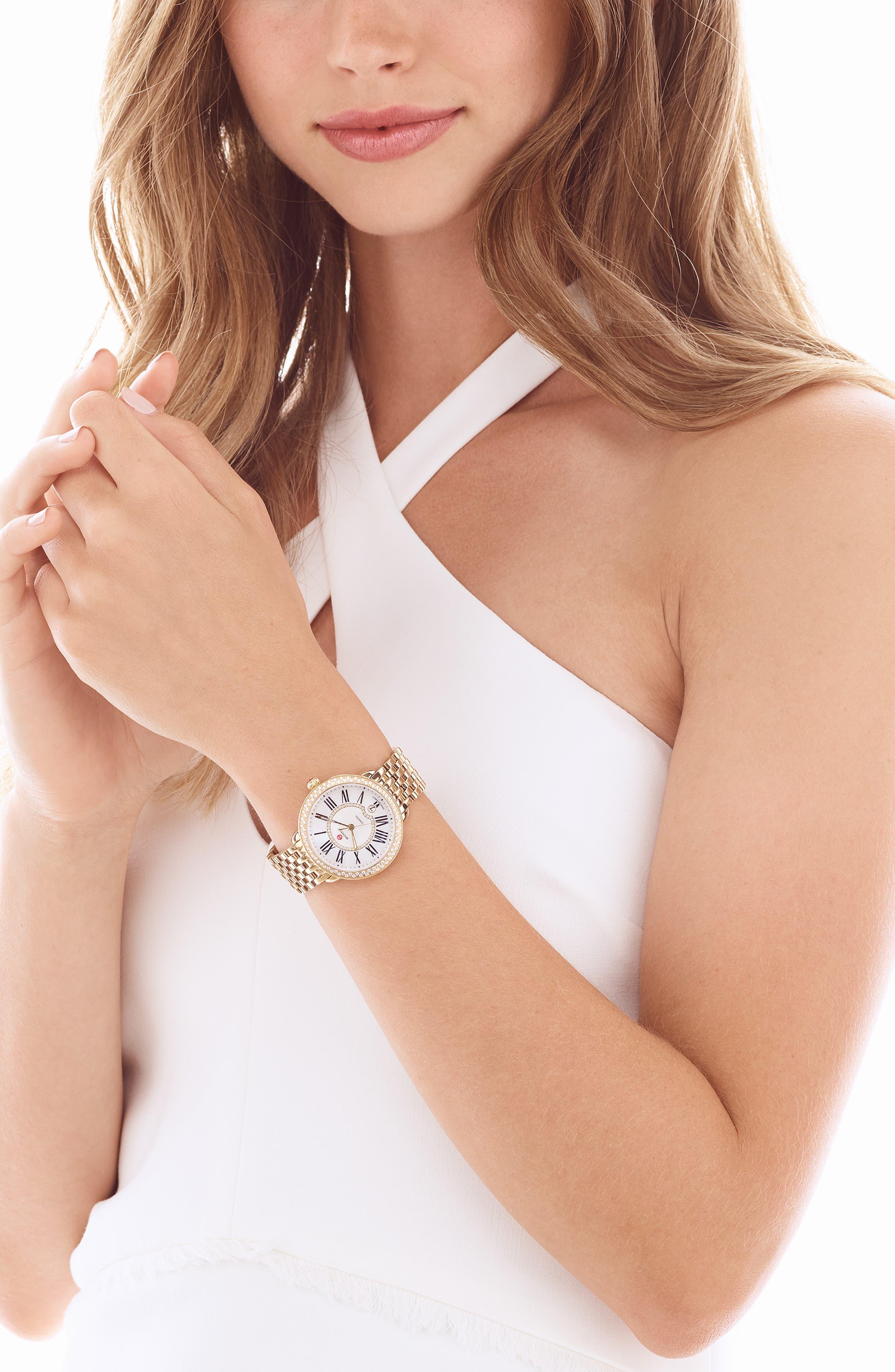 Serein 16mm Gold Plated Bracelet Watchband,                             Alternate thumbnail 4, color,                             Gold