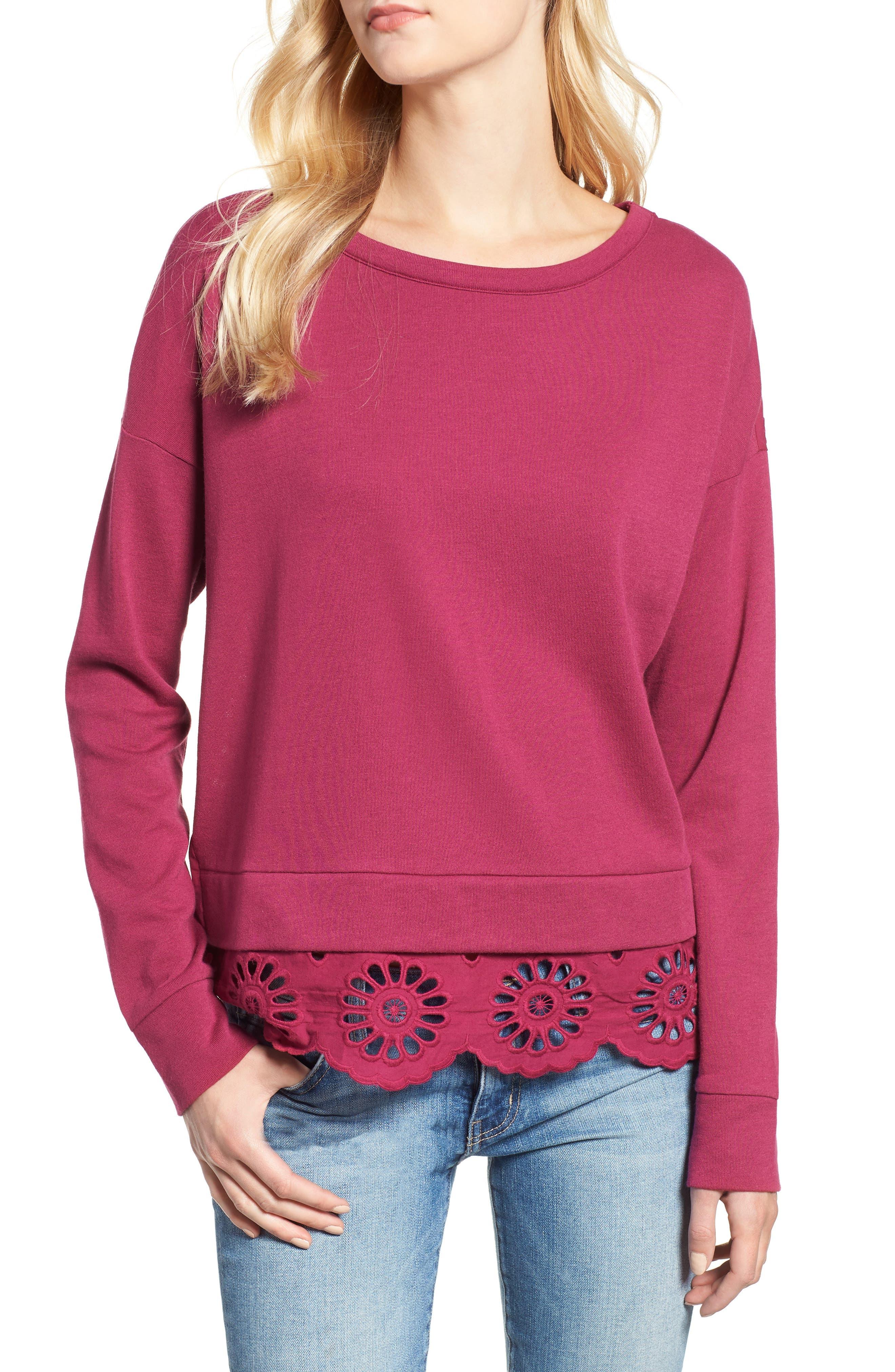 Eyelet Trim Sweatshirt,                         Main,                         color, Purple Fuchsia