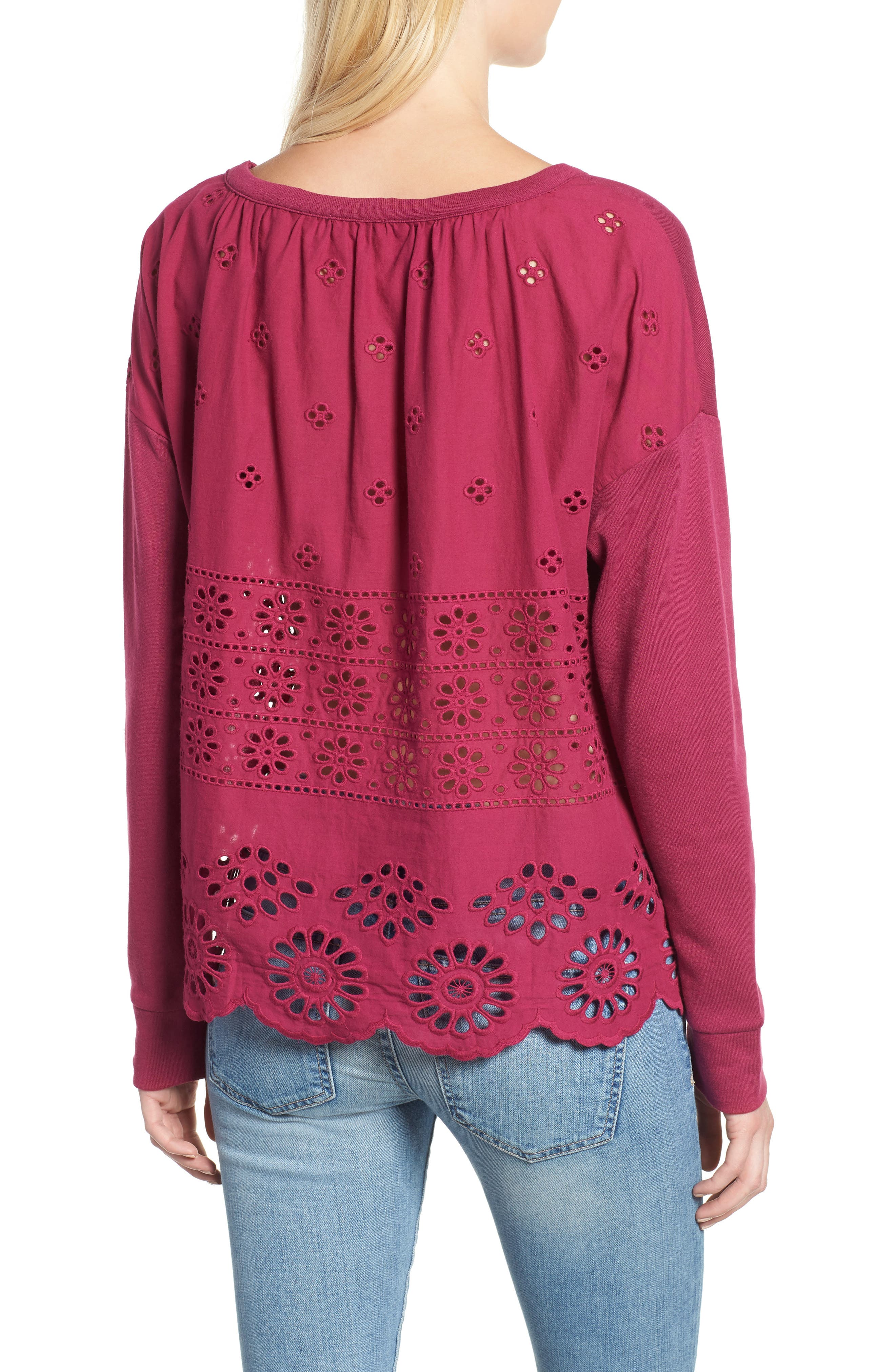 Eyelet Trim Sweatshirt,                             Alternate thumbnail 2, color,                             Purple Fuchsia