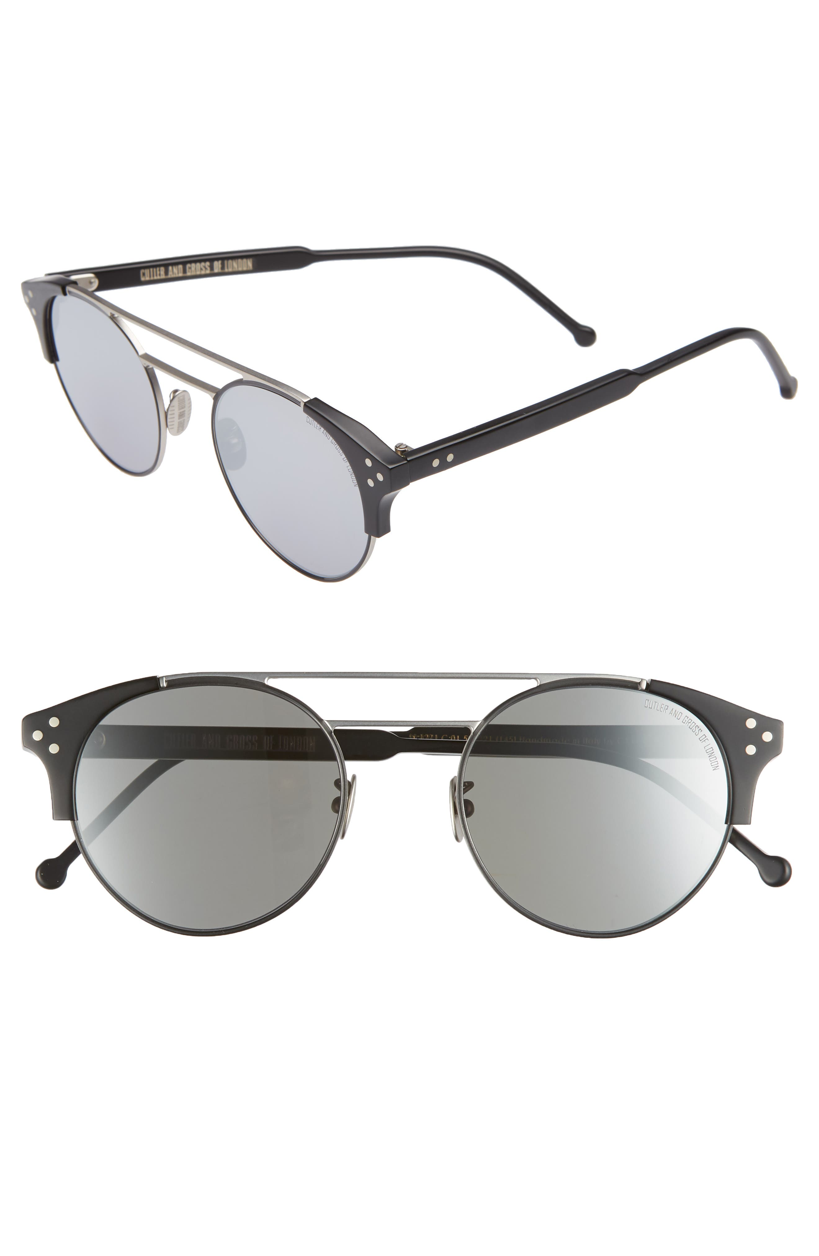 CUTLER AND GROSS 50MM POLARIZED ROUND SUNGLASSES - PALLADIUM AND BLACK/ SILVER