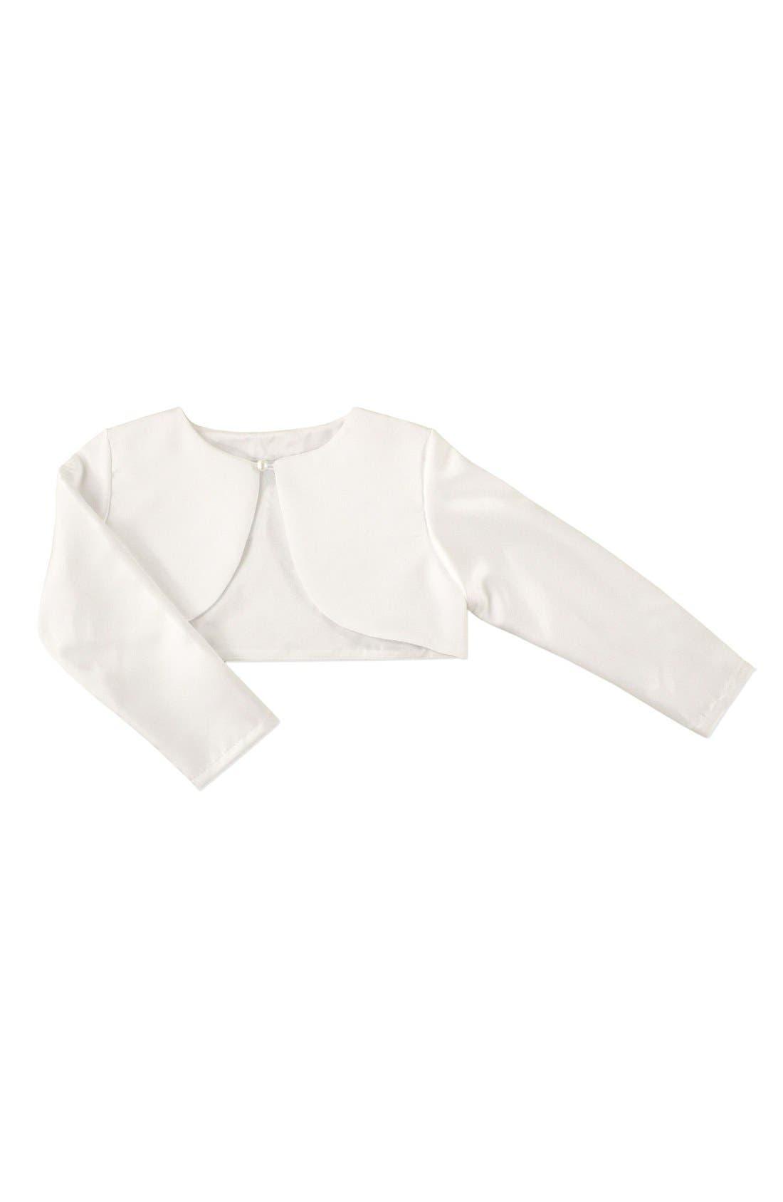 Long Sleeve Satin Bolero,                             Main thumbnail 1, color,                             White