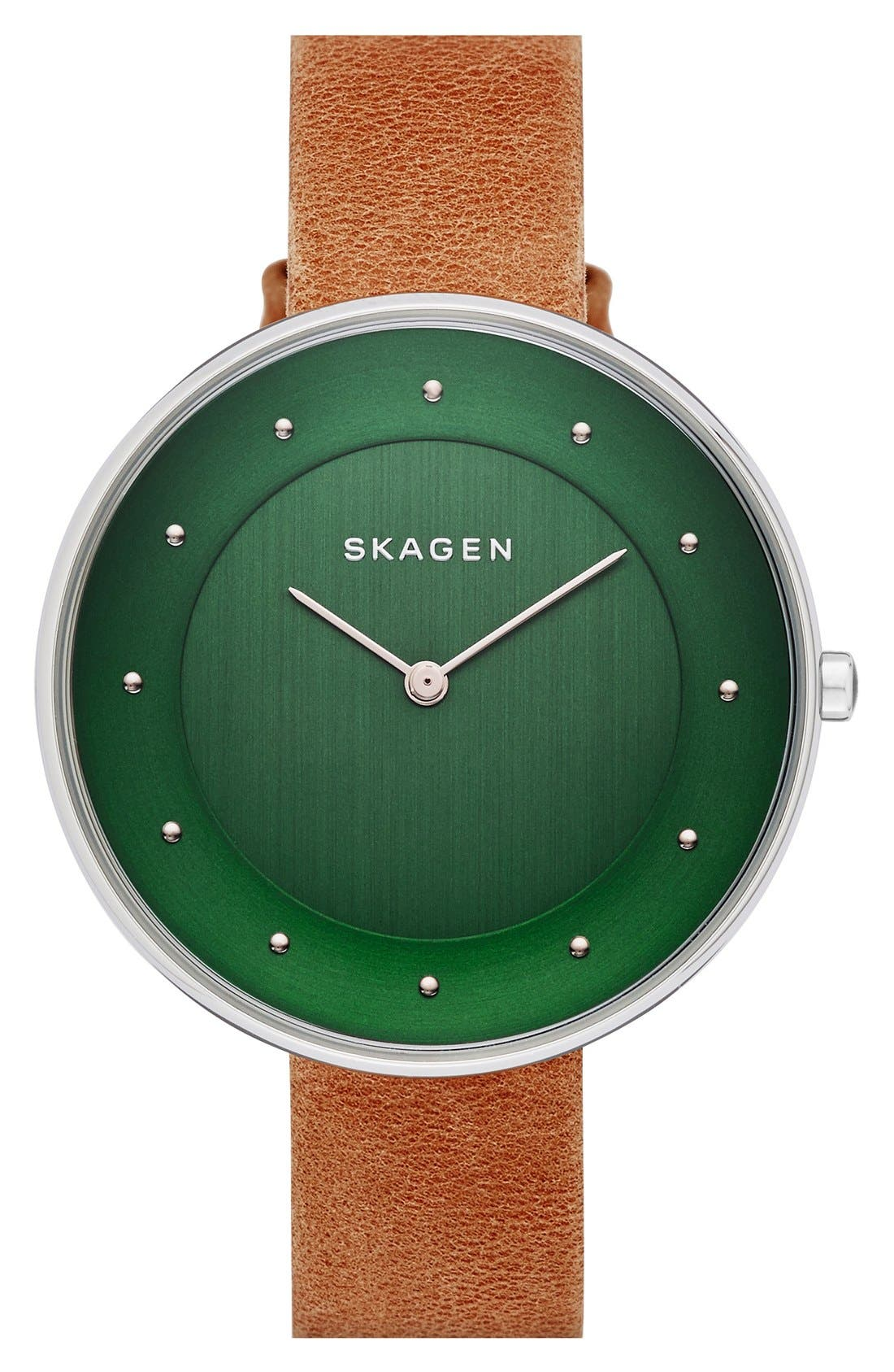 Alternate Image 1 Selected - Skagen 'Gitte' Round Slim Leather Strap Watch, 38mm