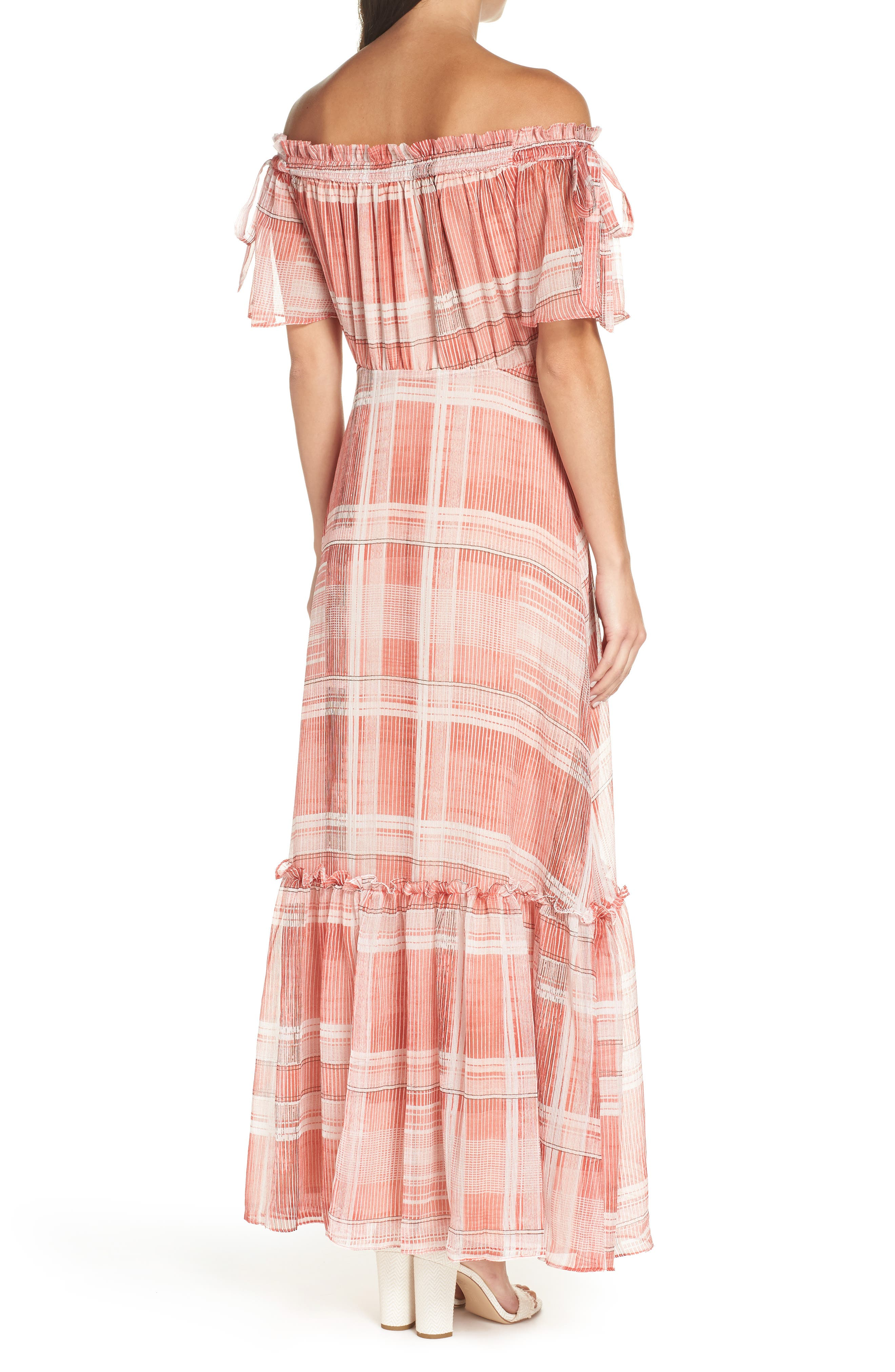 Plaid Off the Shoulder Maxi Dress,                             Alternate thumbnail 2, color,                             Red/ White