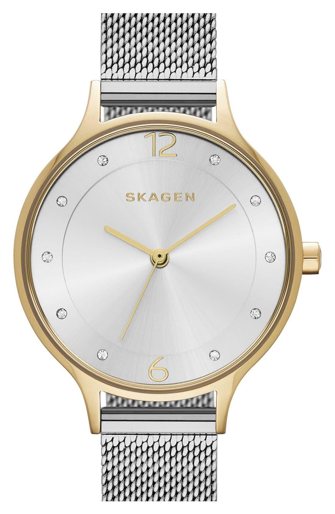 Skagen 'Anita' Crystal Index Mesh Strap Watch, 30mm