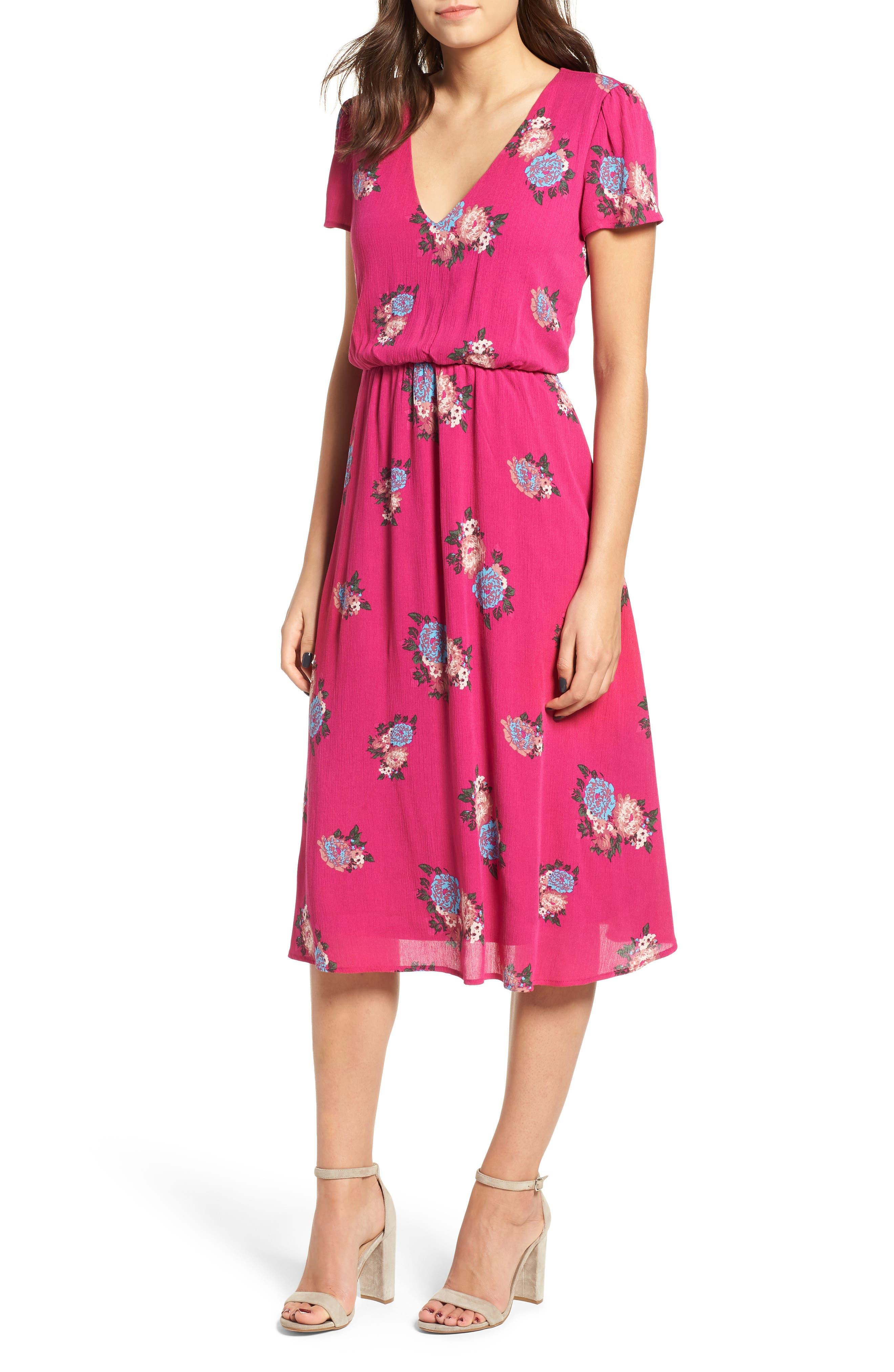 Blouson Midi Dress,                             Main thumbnail 1, color,                             Pink Berry Floral