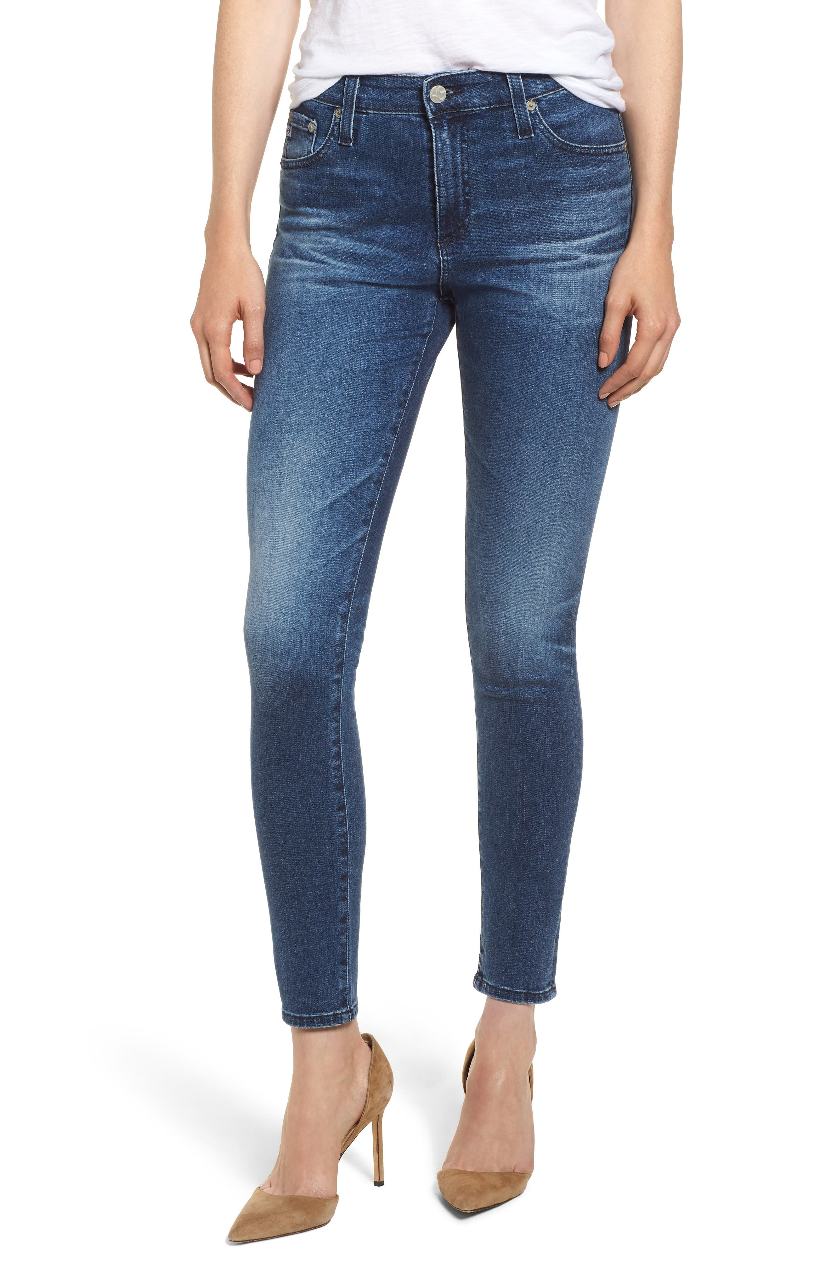 The Farrah Ankle Skinny Jeans,                         Main,                         color, 11 Years Contemplate