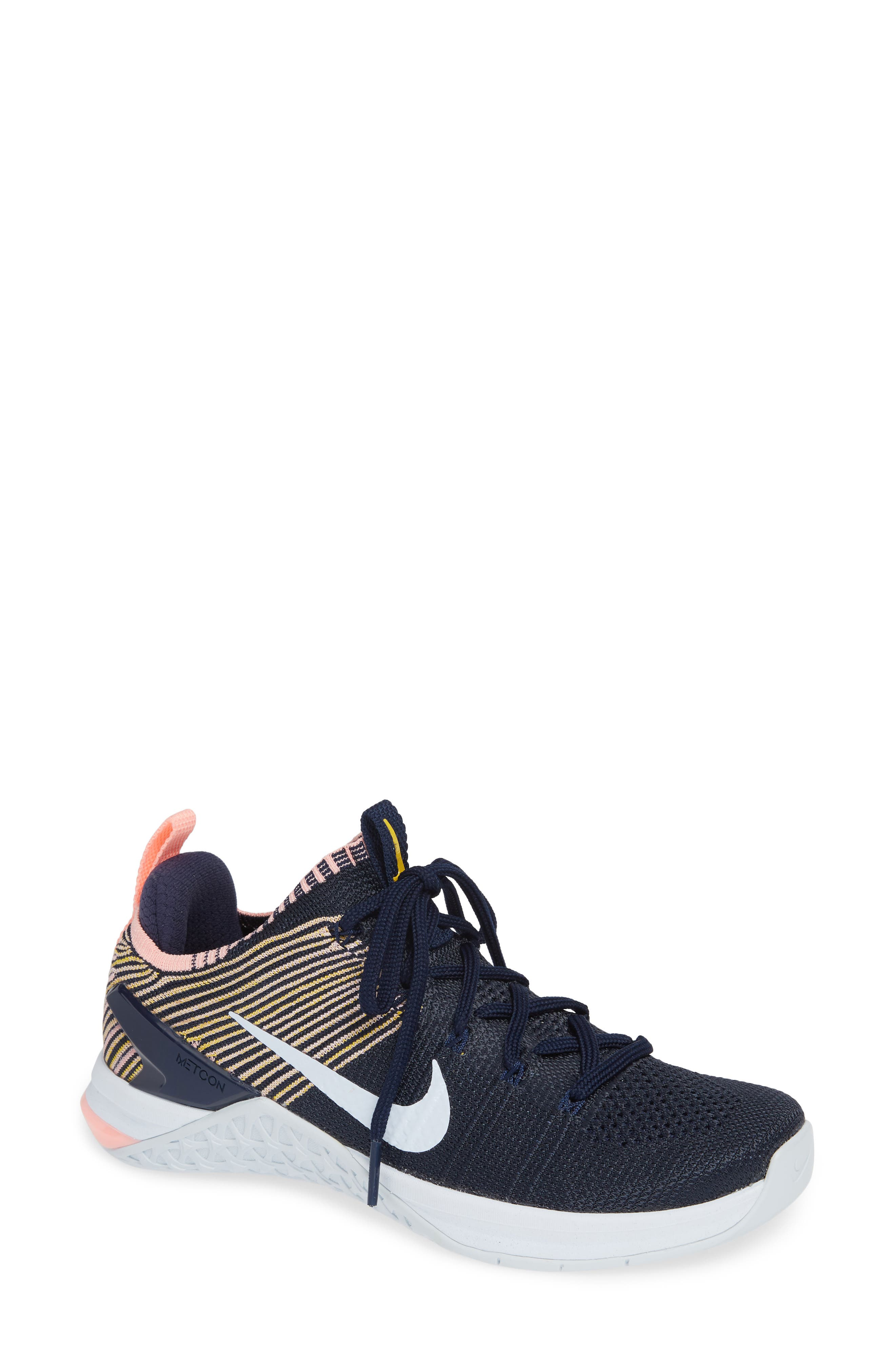 Metcon DSX Flyknit 2 Training Shoe,                             Main thumbnail 1, color,                             College Navy/ Blue Tint/ Pink