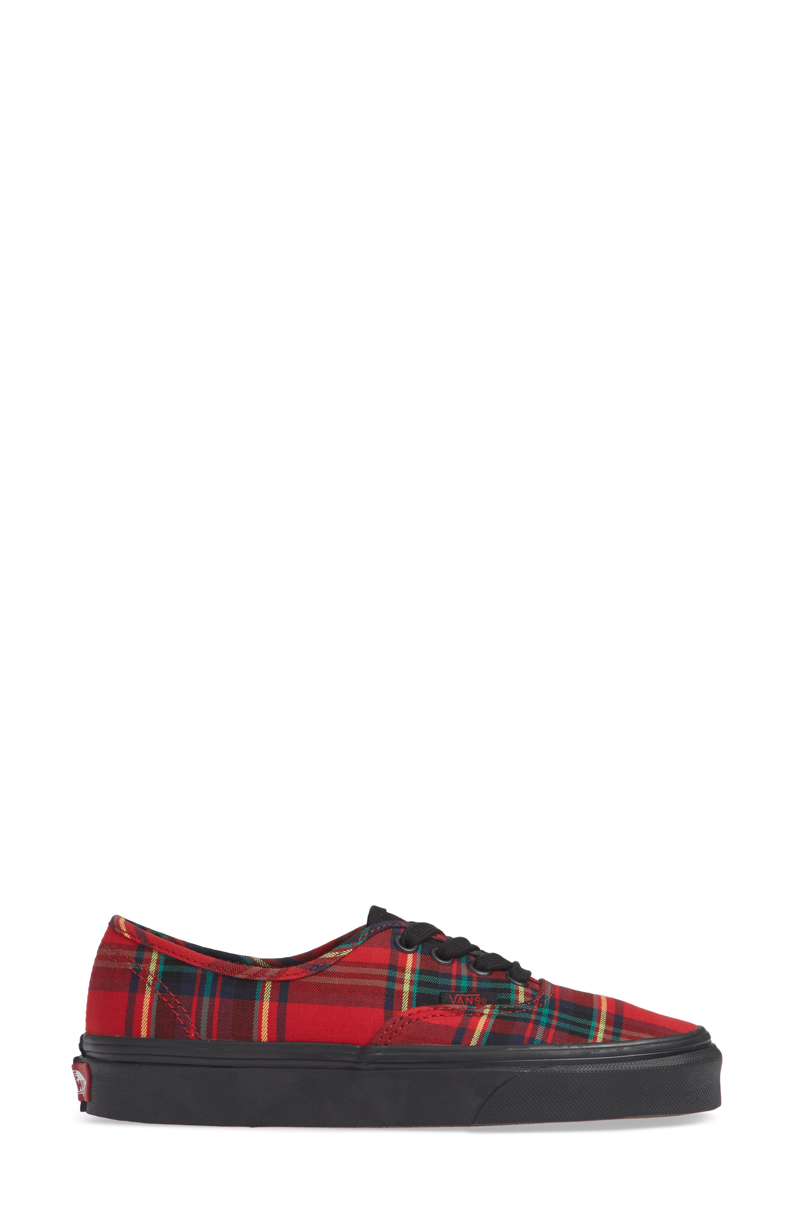 'Authentic' Sneaker,                             Alternate thumbnail 5, color,                             Plaid Mix Red