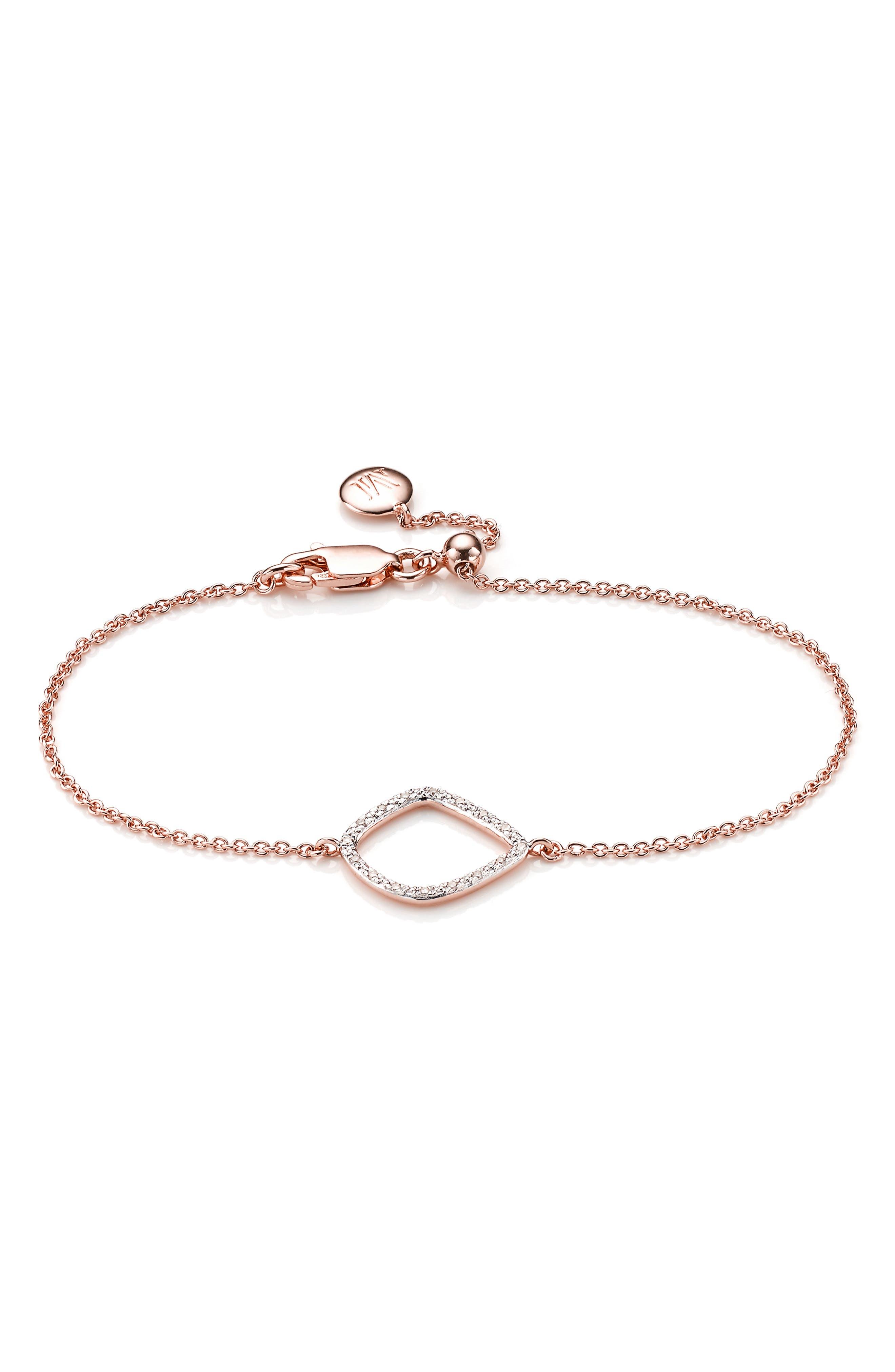 Riva Kite Adjustable Diamond Bracelet,                             Main thumbnail 1, color,                             Rose Gold