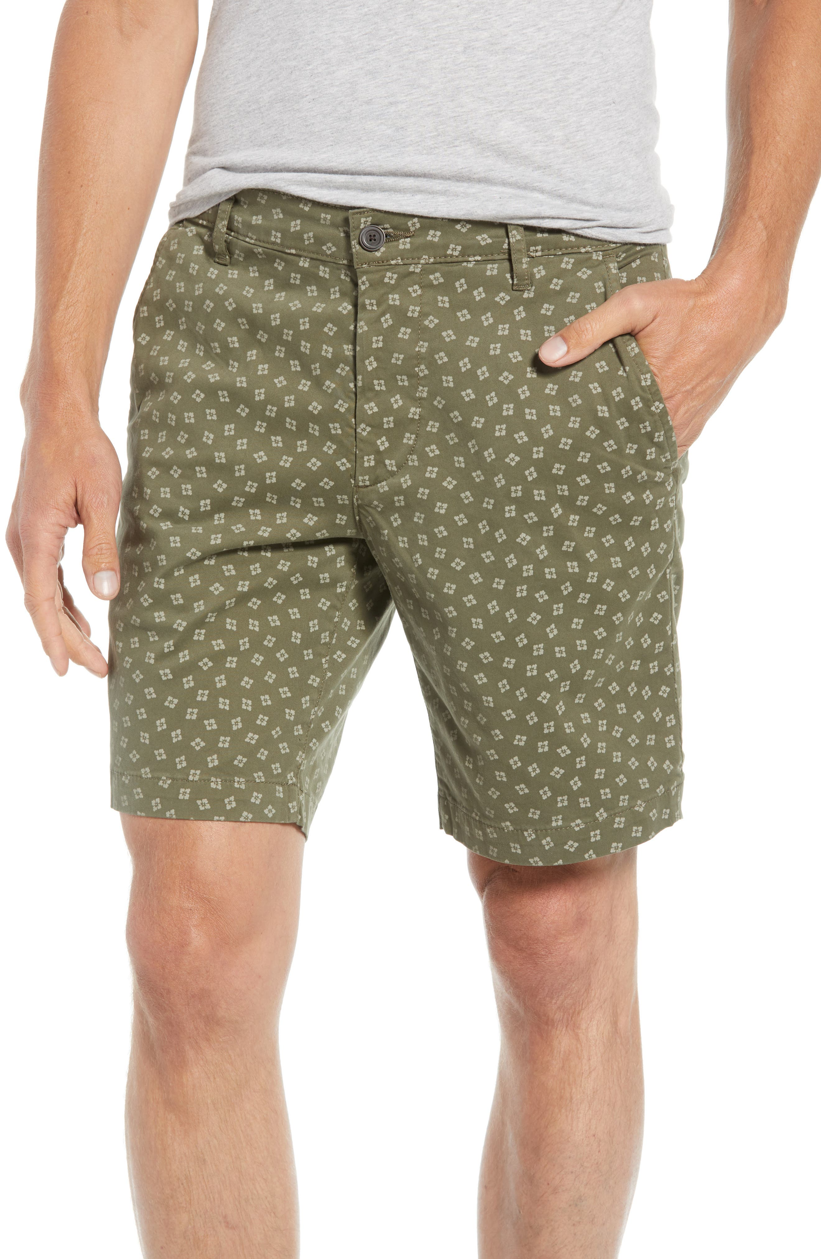 Flora Print Slim Fit Shorts,                         Main,                         color, Flora Canyon Moss