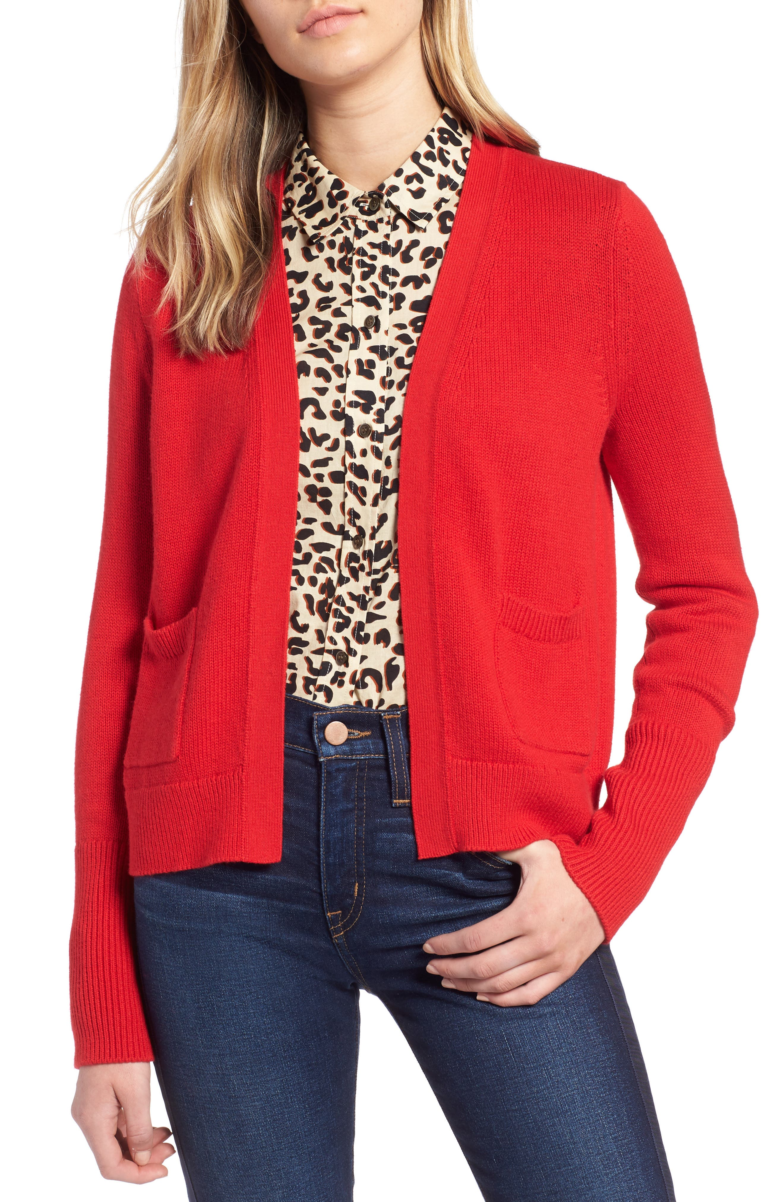Cotton Cashmere Colorblock Cardigan,                             Main thumbnail 1, color,                             Red Chinoise