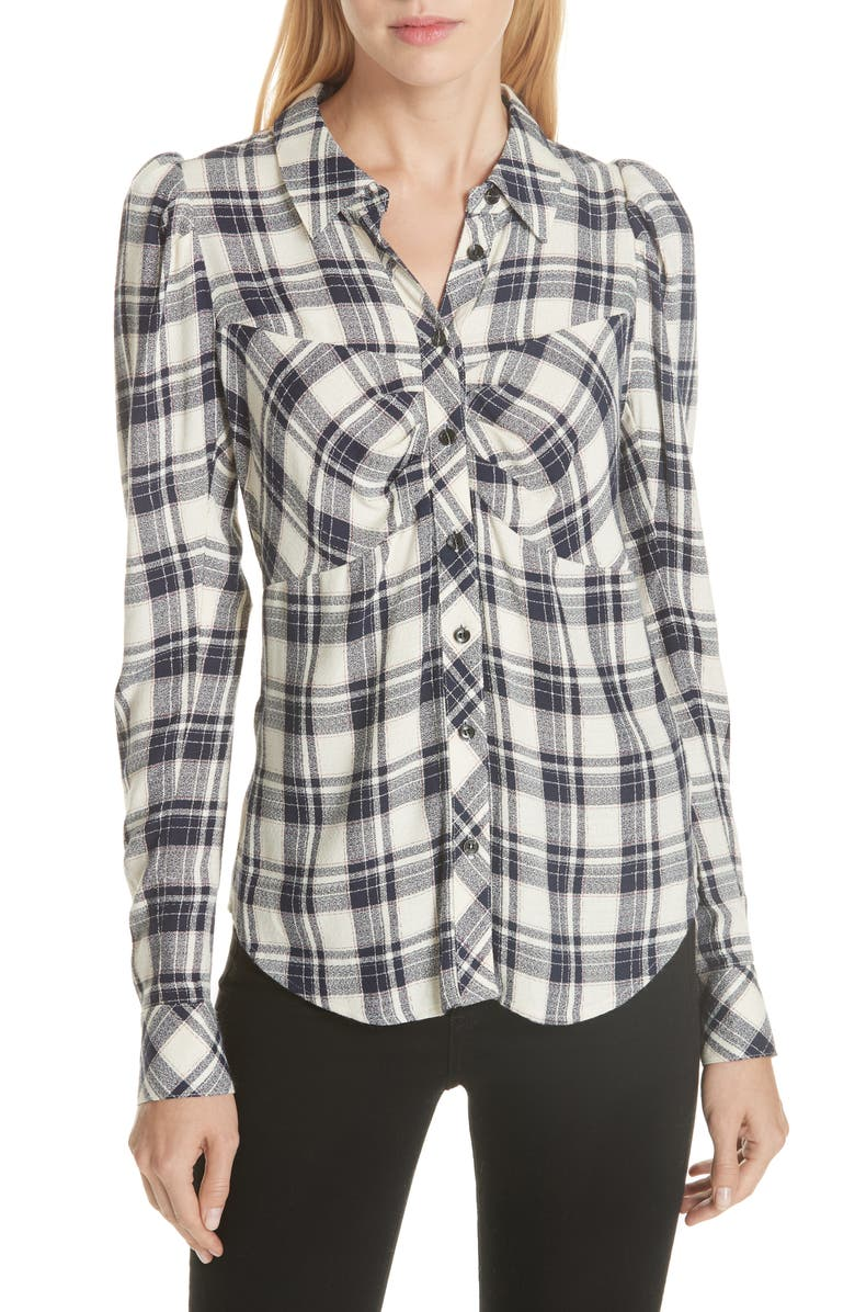 Candice Plaid Puff Sleeve Top,                         Main,                         color, Navy Ecru