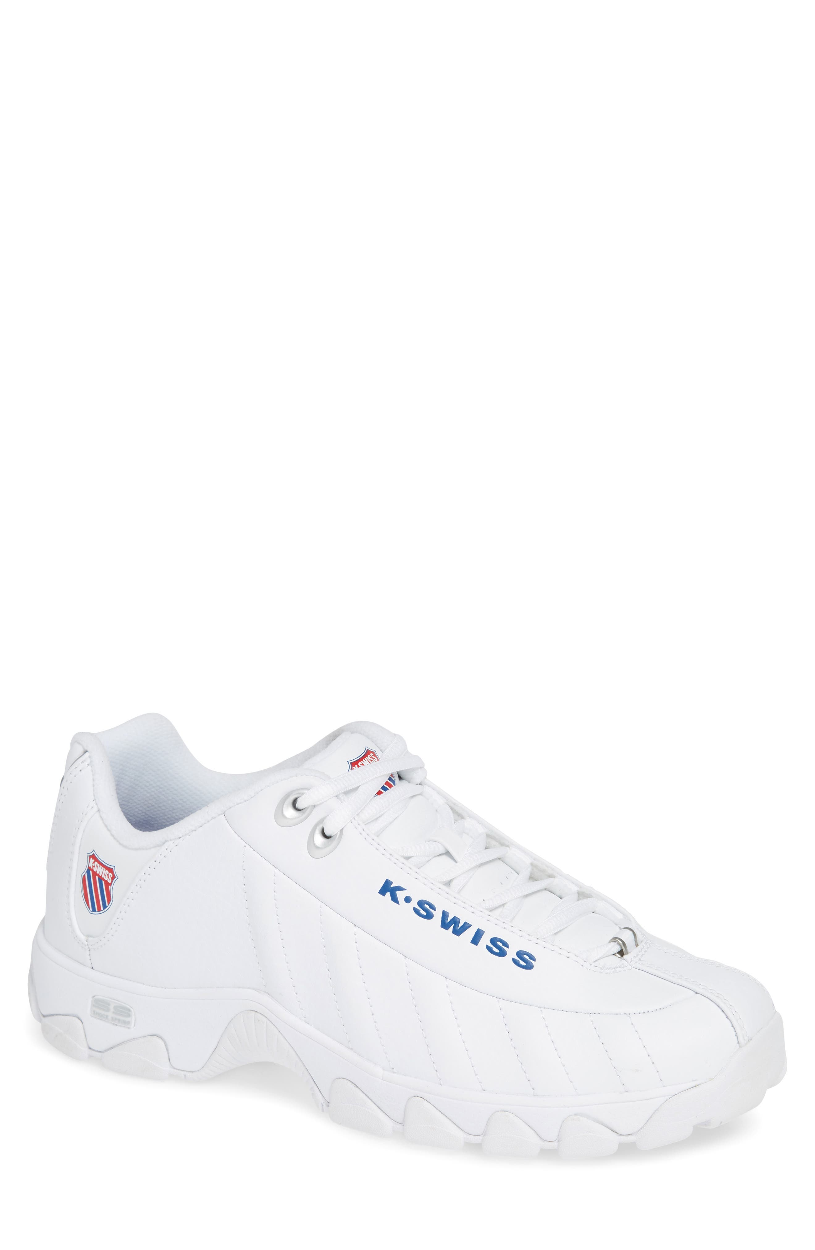 K-SWISS St-329 Heritage Sneaker in White/ Classic Blue/ Red
