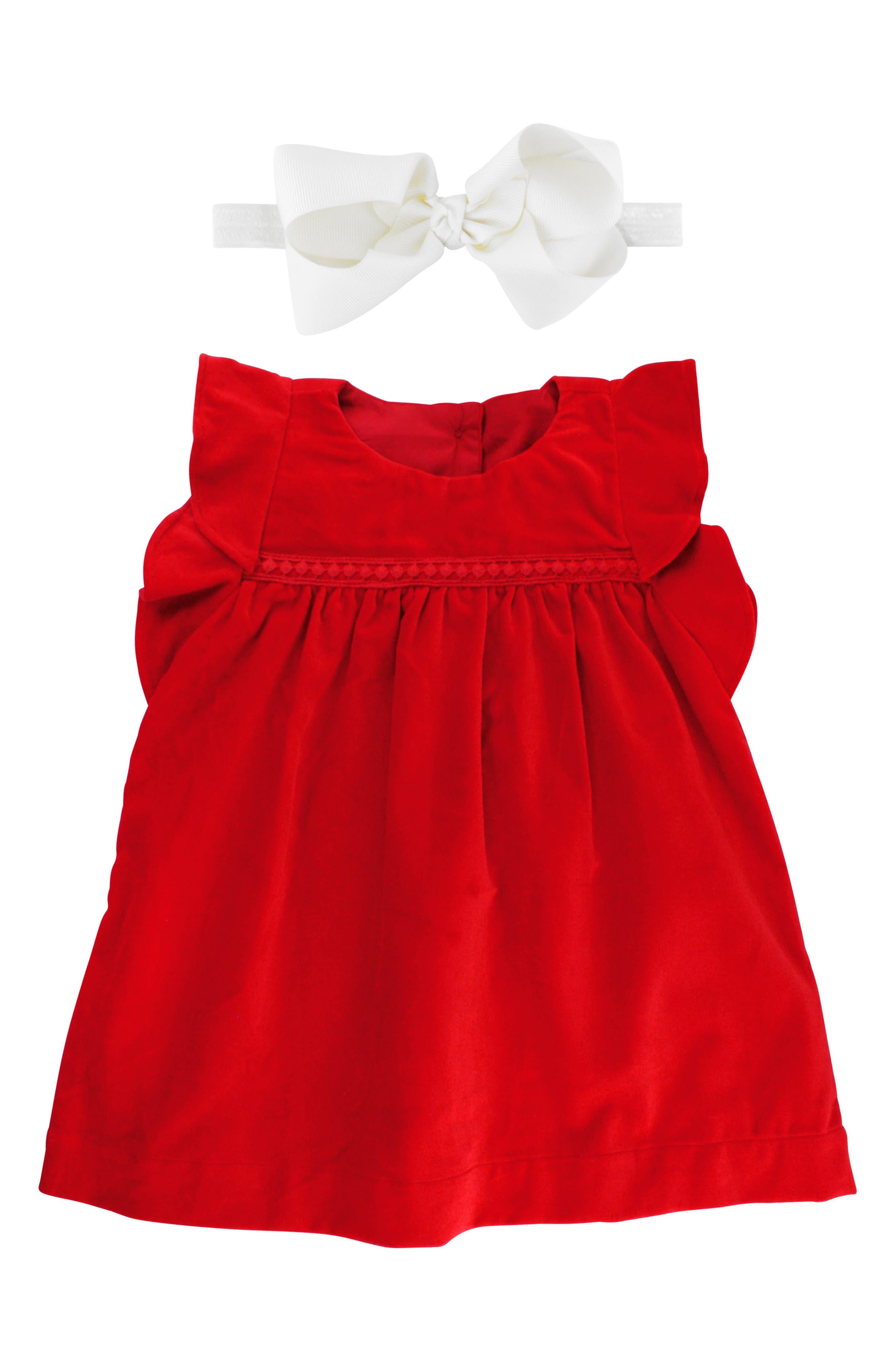 Velvet Dress & Bow Head Wrap Set,                             Main thumbnail 1, color,                             Red
