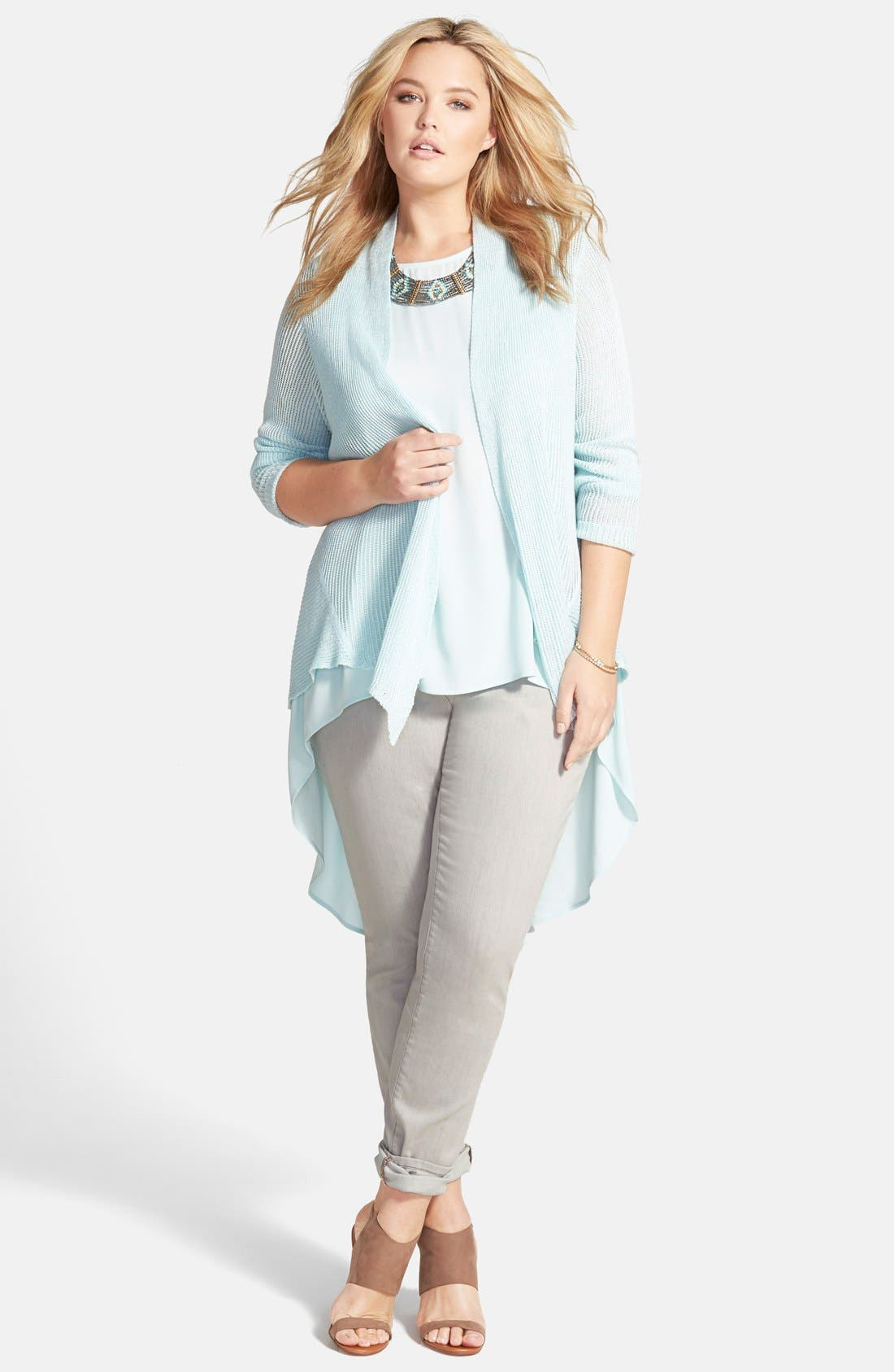 Alternate Image 4  - Eileen Fisher Shaped Linen Cardigan (Plus Size)