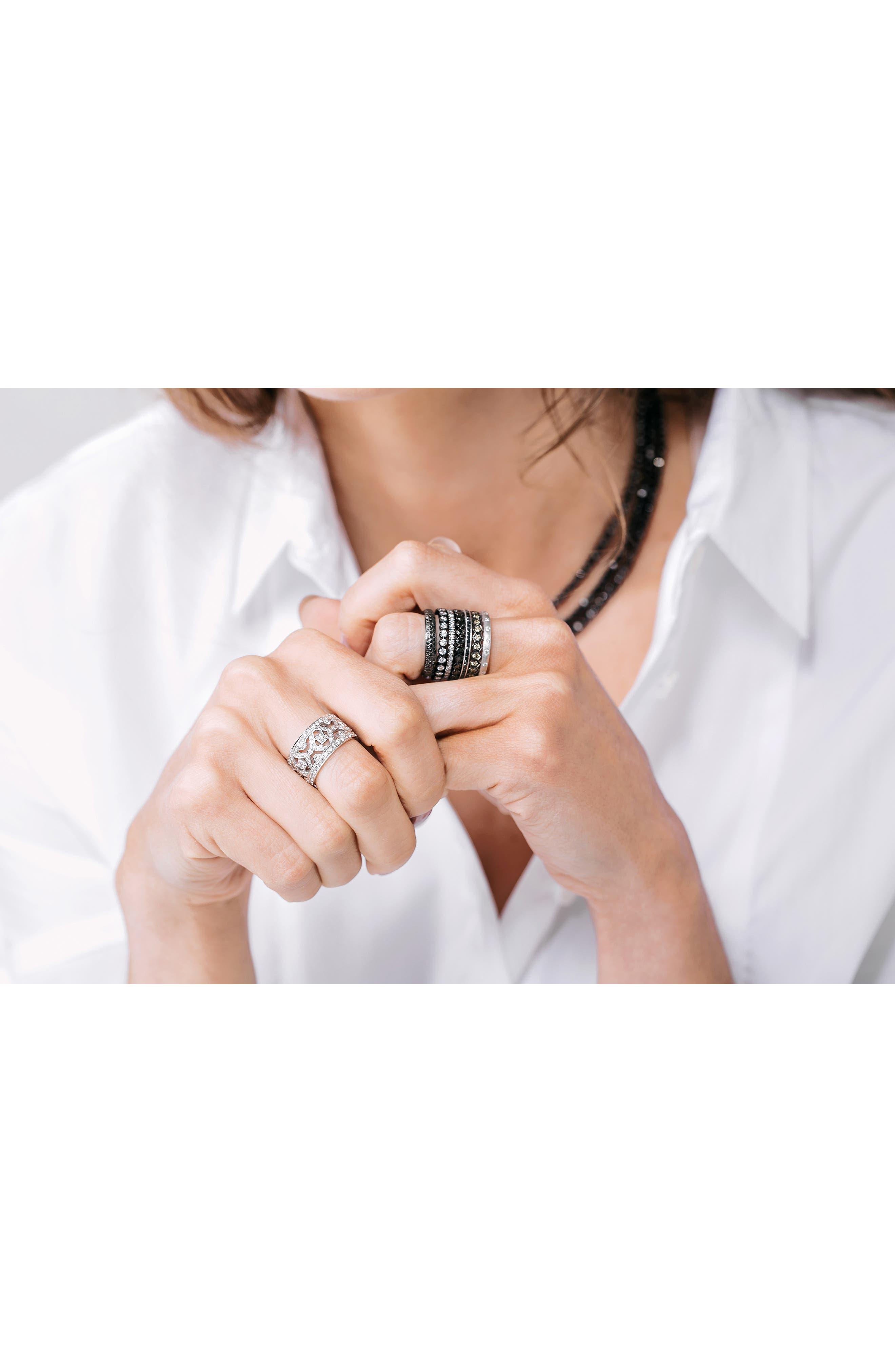 Channel Set Diamond Ring,                             Alternate thumbnail 4, color,                             White Gold/ Black Diamond