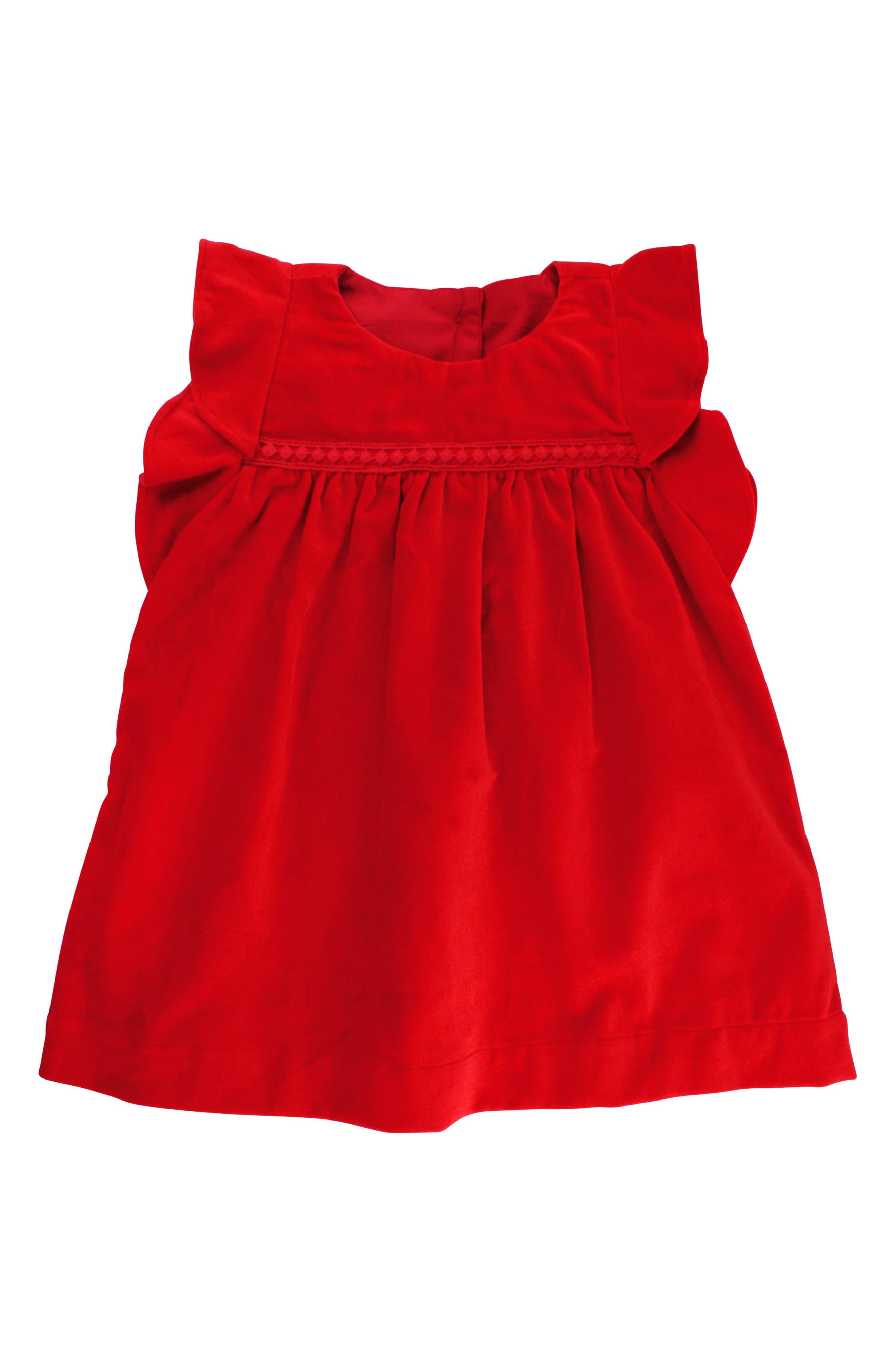 Velvet Dress & Bow Head Wrap Set,                             Alternate thumbnail 3, color,                             Red