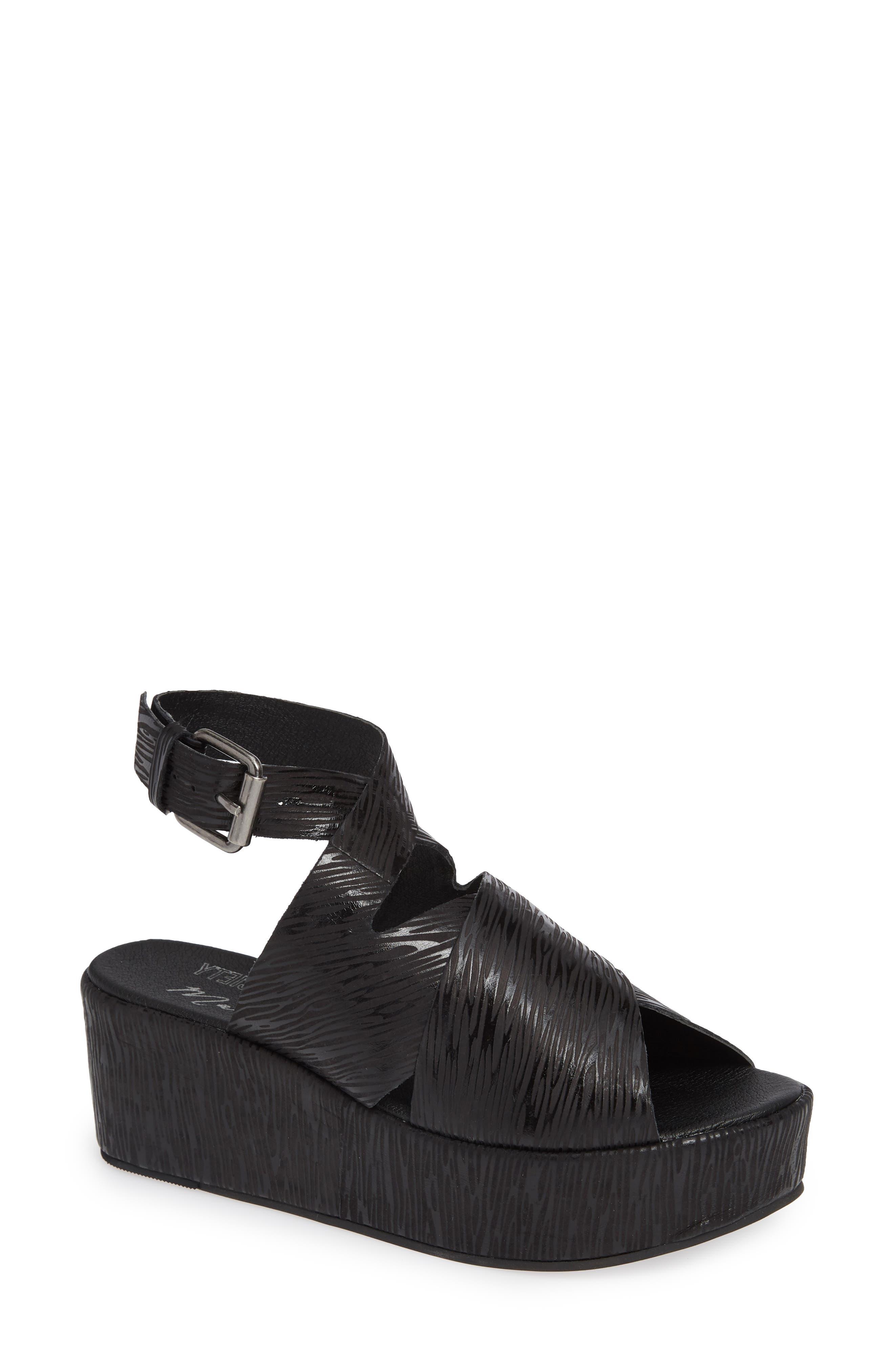 Runway Wedge Sandal,                             Main thumbnail 1, color,                             Black Lizard Print Leather