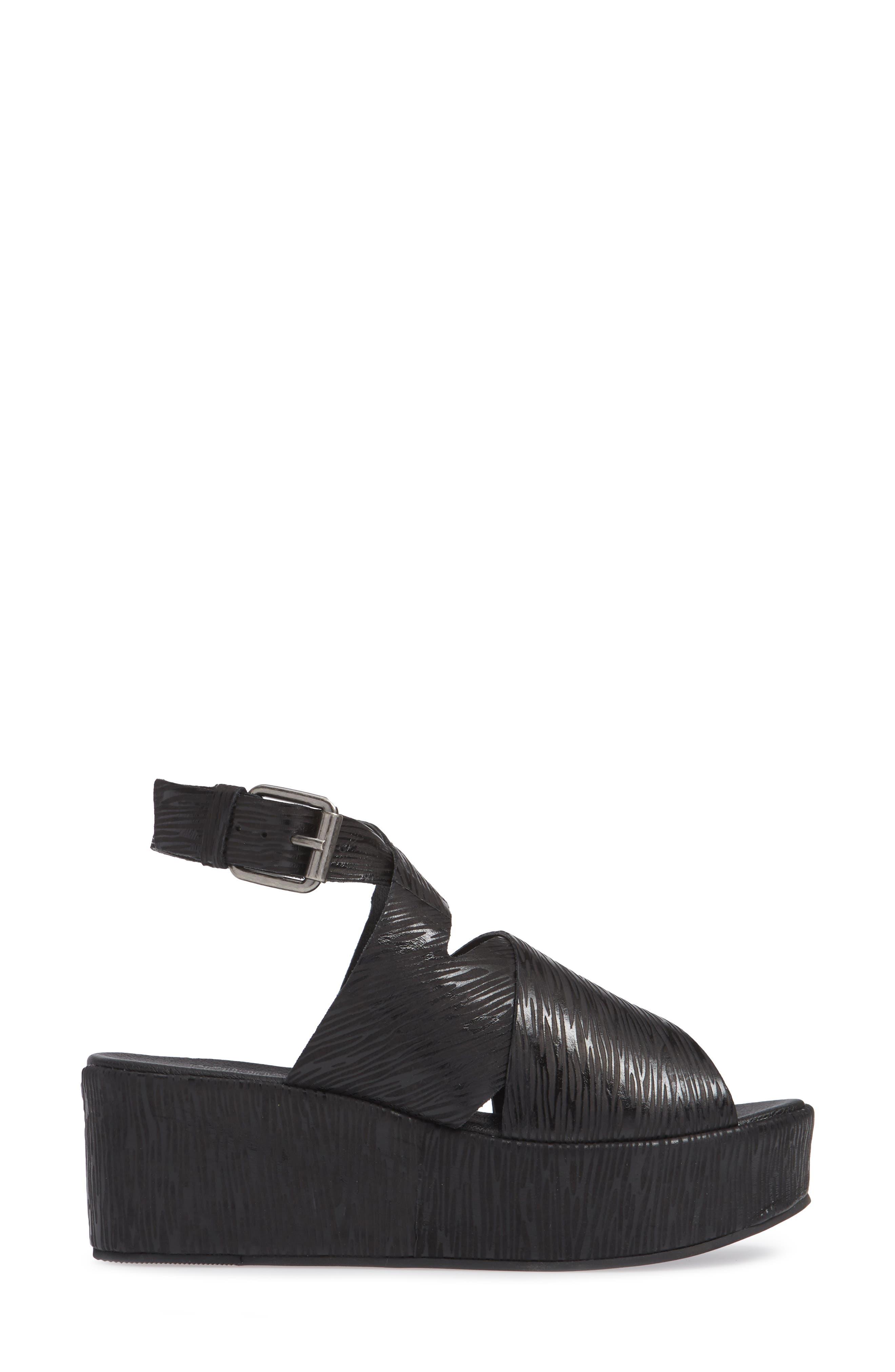 Runway Wedge Sandal,                             Alternate thumbnail 4, color,                             Black Lizard Print Leather