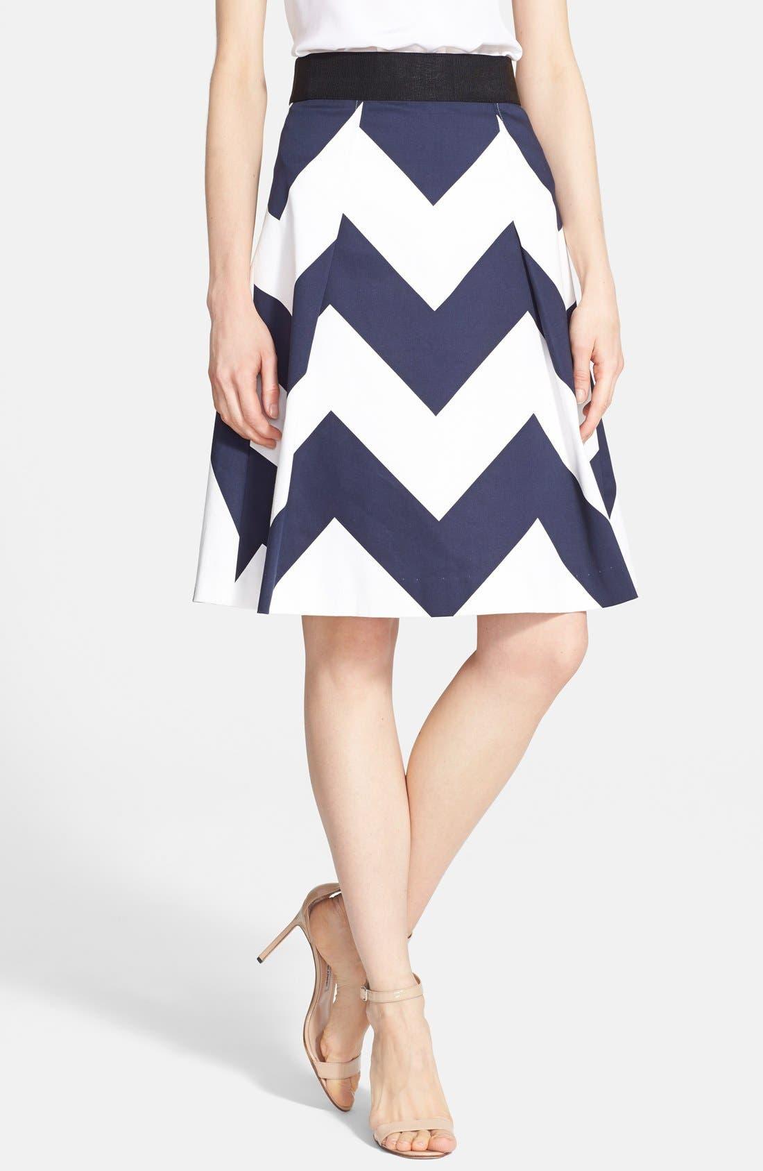 Main Image - Milly Chevron Print A-Line Skirt
