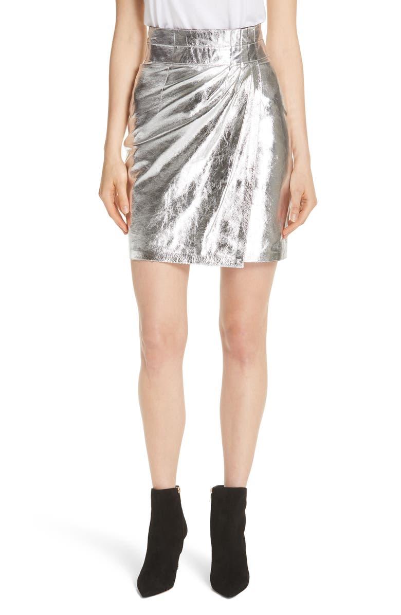 ba&sh Mania Metallic Leather Skirt
