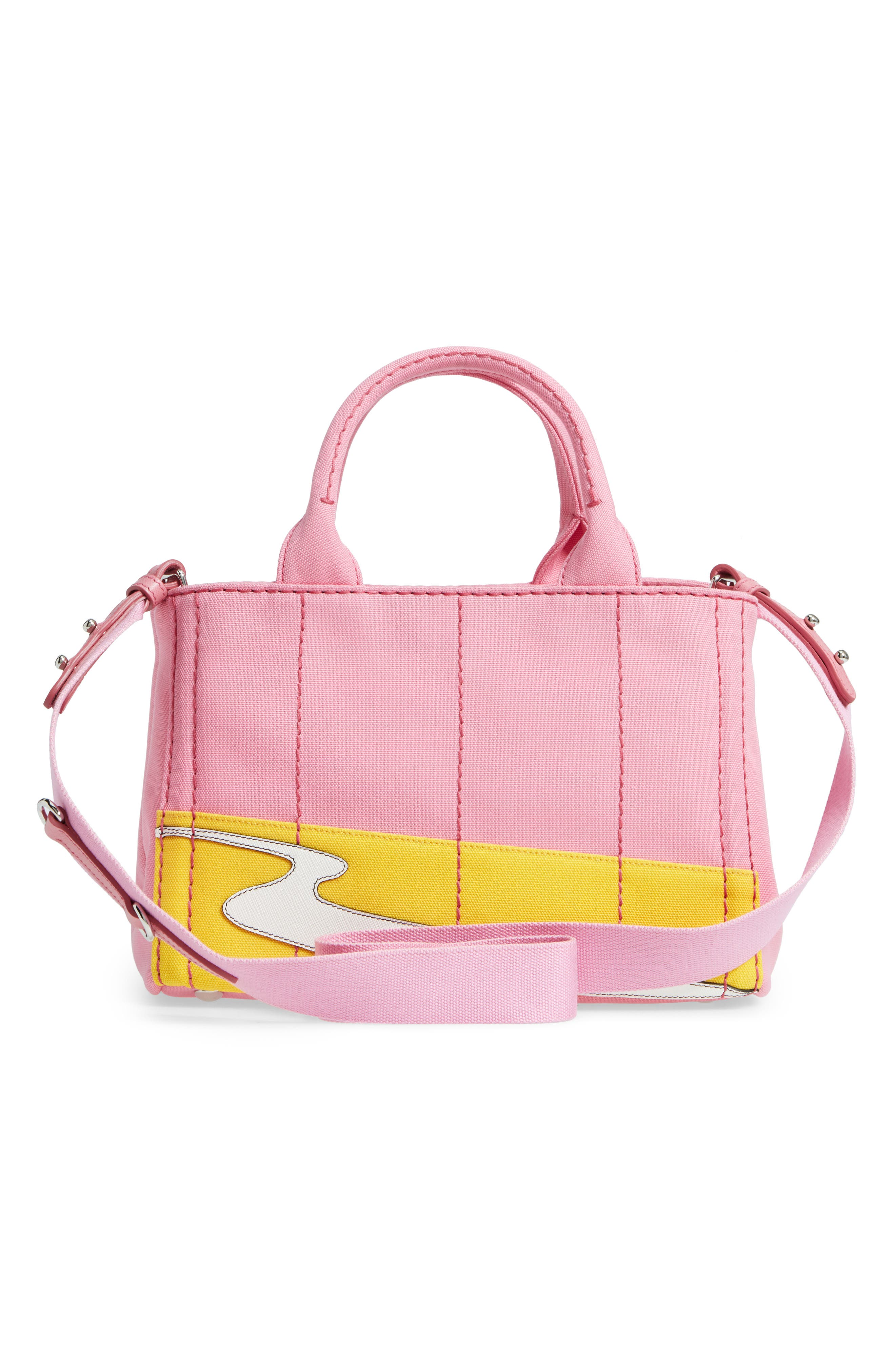 Desert Motif Patch Leather & Canvas Tote,                             Alternate thumbnail 3, color,                             Pink