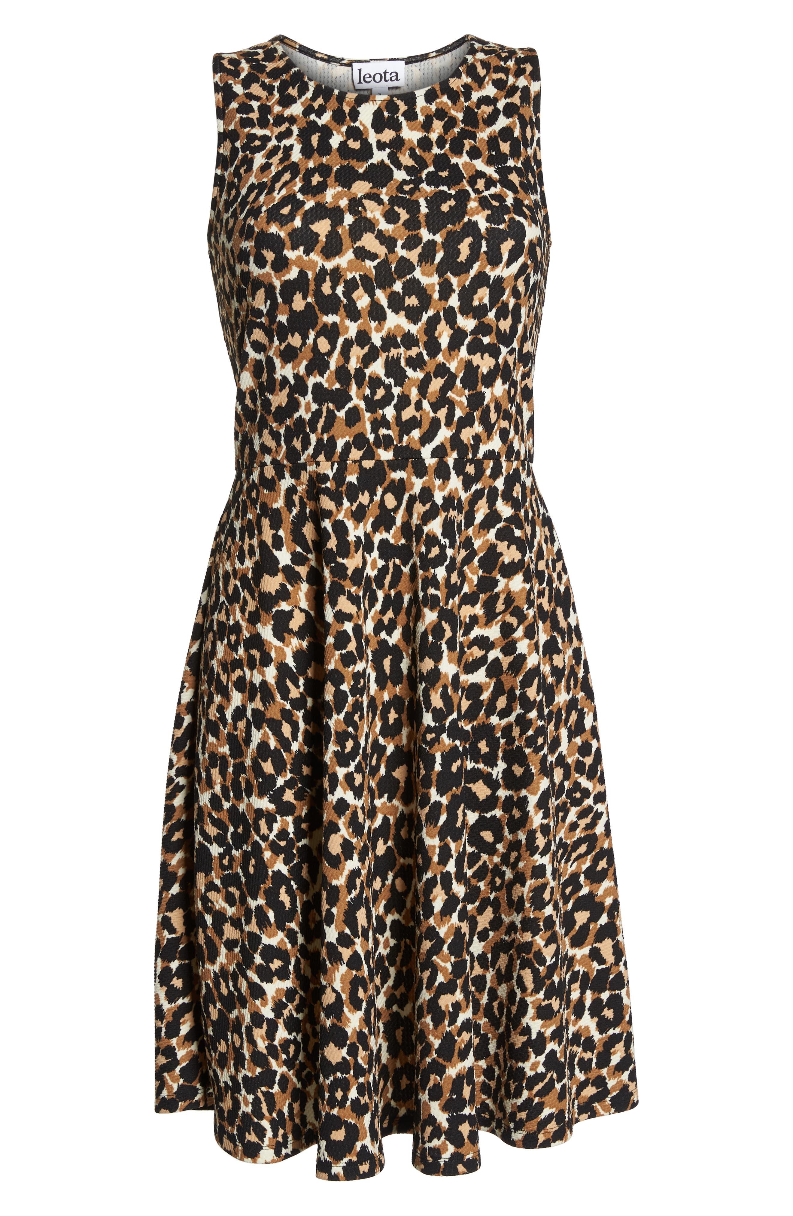 Ava Fit & Flare Dress,                             Alternate thumbnail 7, color,                             Leo