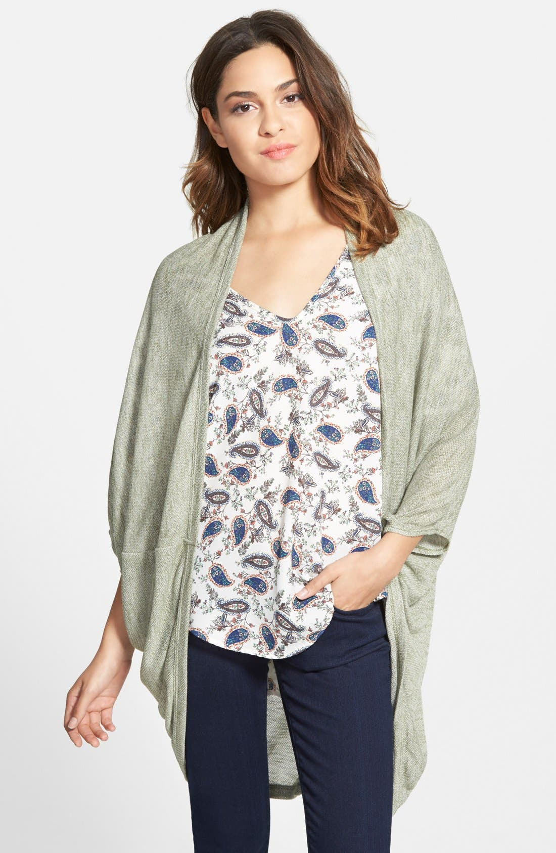 Lightweight Cocoon Cardigan,                             Main thumbnail 1, color,                             Olive Burnt