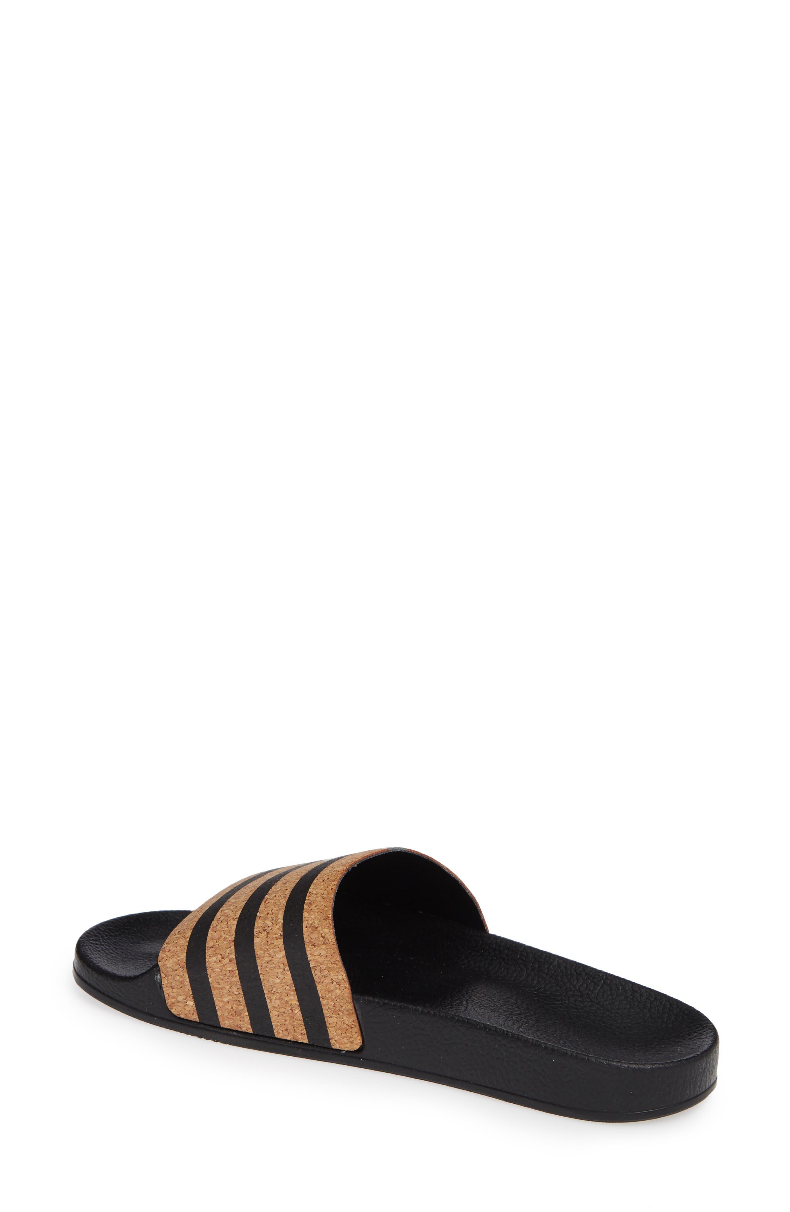 'Adilette' Slide Sandal,                             Alternate thumbnail 2, color,                             Core Black/ Core Black