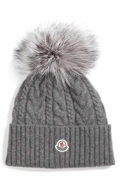 a7f1509aa5f Moncler Cable Knit Beanie with Genuine Fox Fur Pom