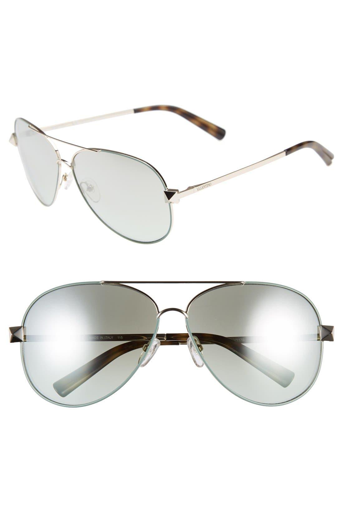 Main Image - Valentino 'Rockstud' 61mm Aviator Sunglasses