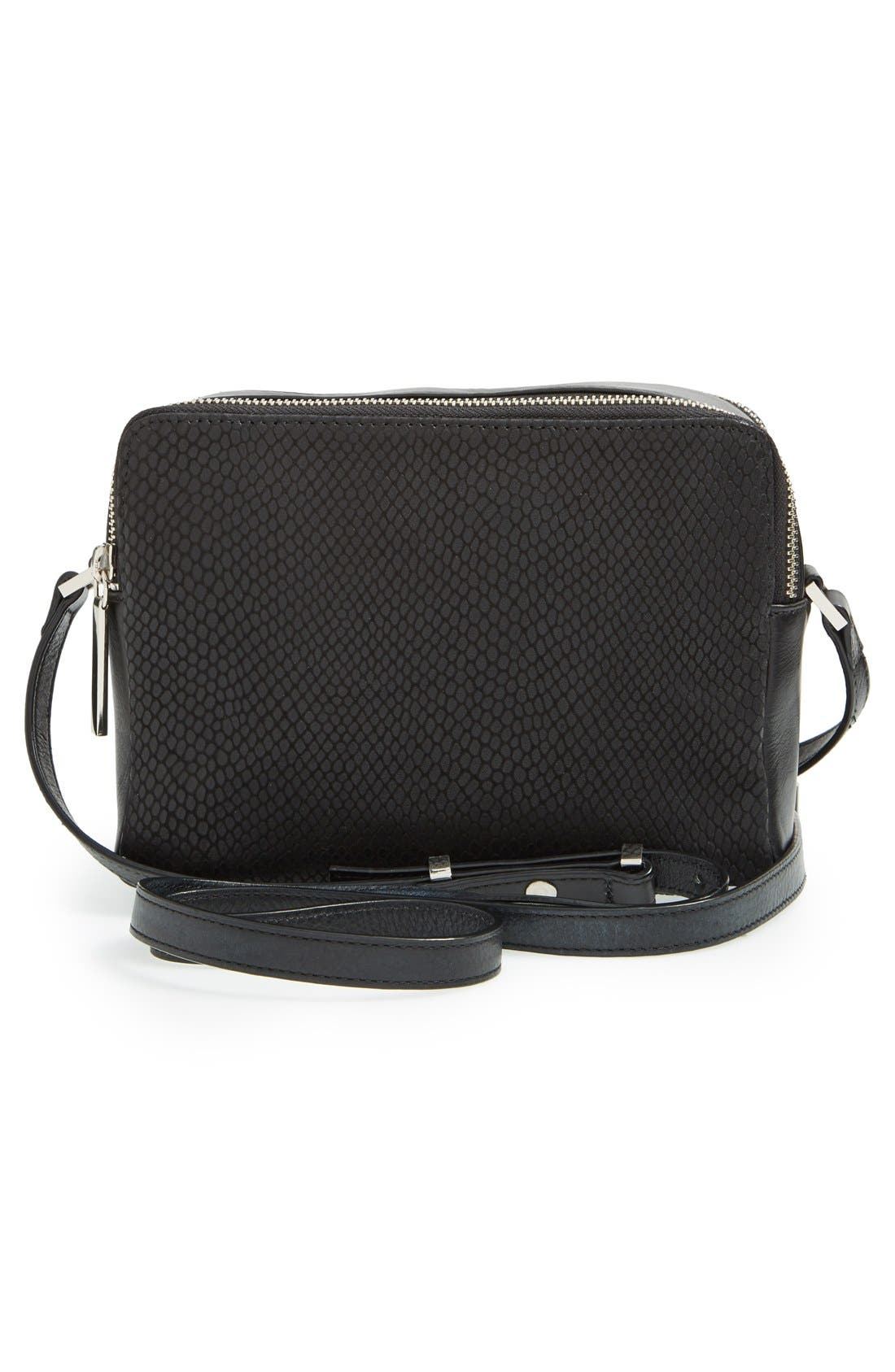 Alternate Image 3  - Halogen® Leather Double Zip Crossbody Bag
