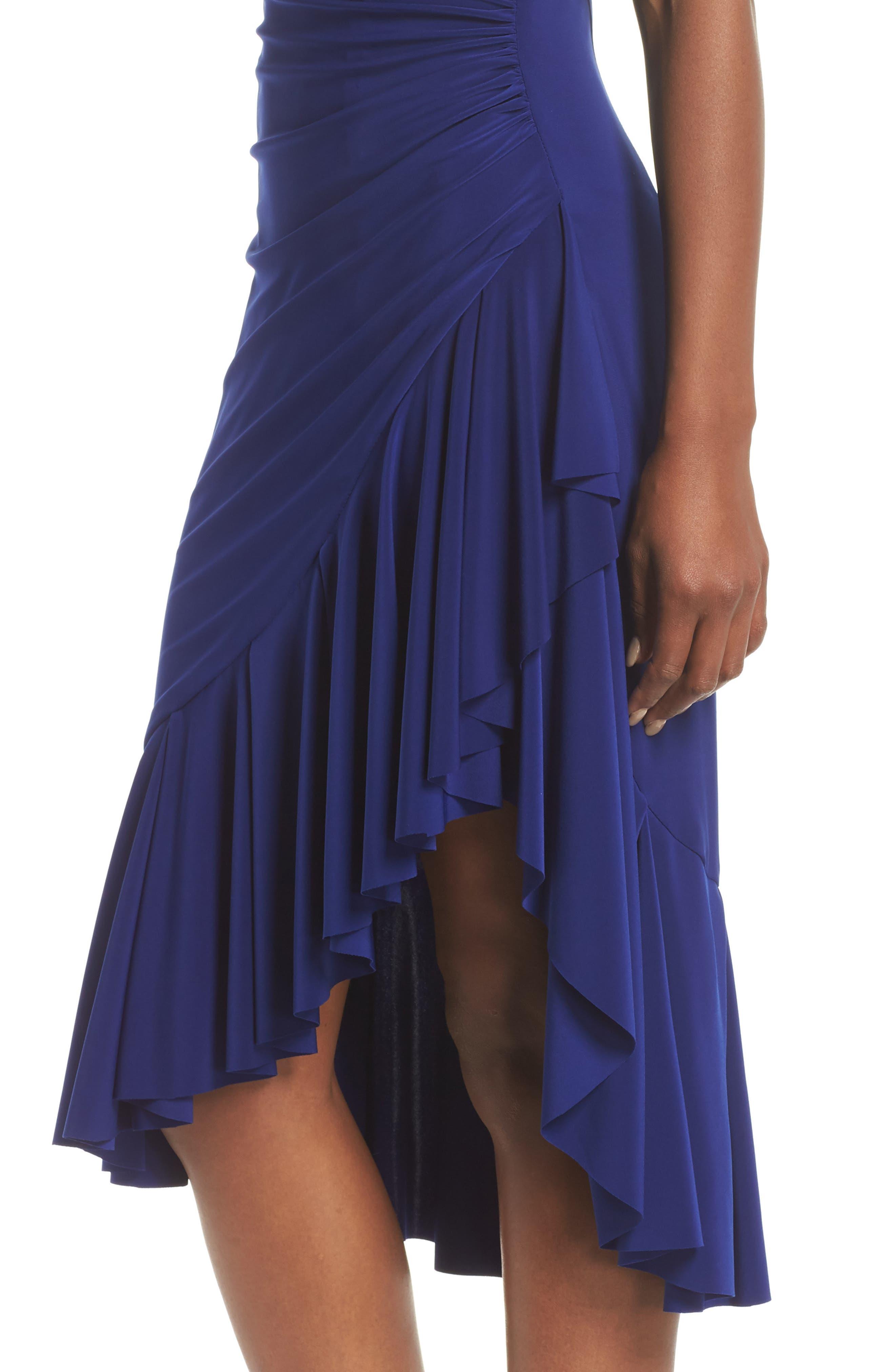 Halter Cascade Dress,                             Alternate thumbnail 4, color,                             Cobalt