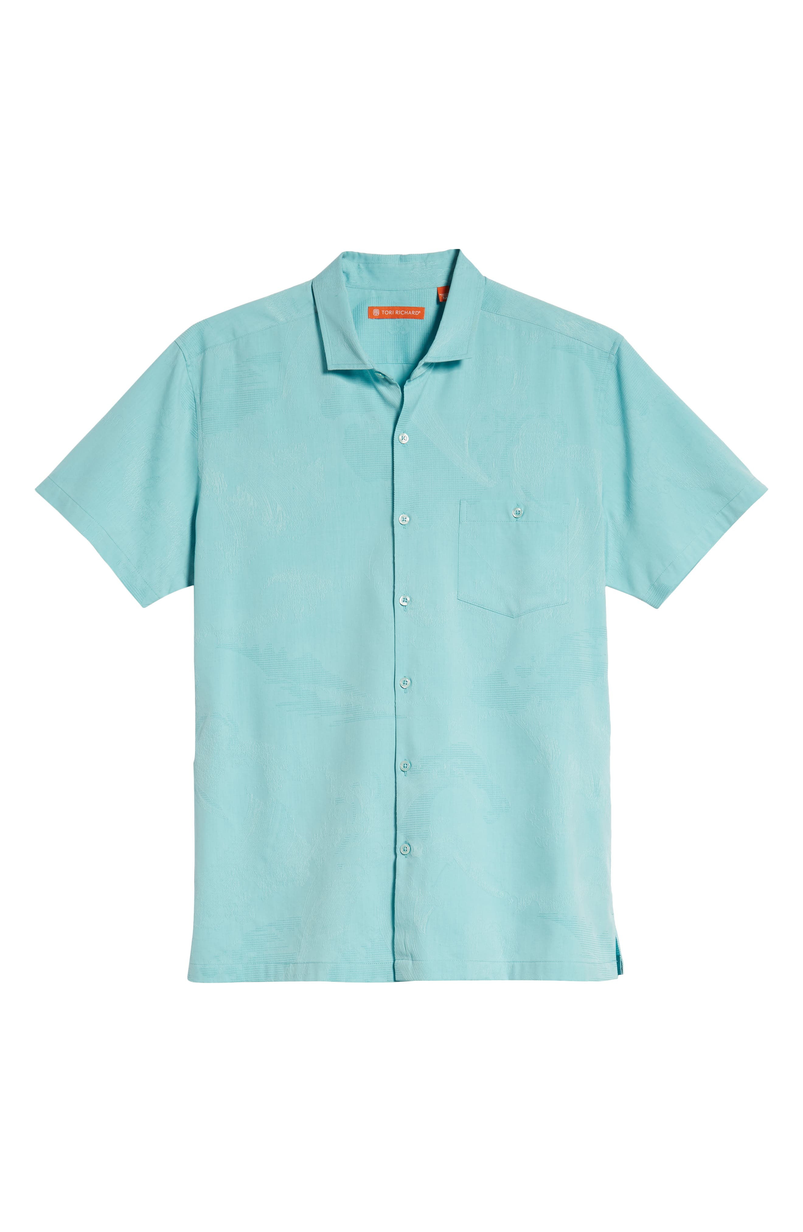 Seas the Day Trim Fit Camp Shirt,                             Alternate thumbnail 5, color,                             Surf