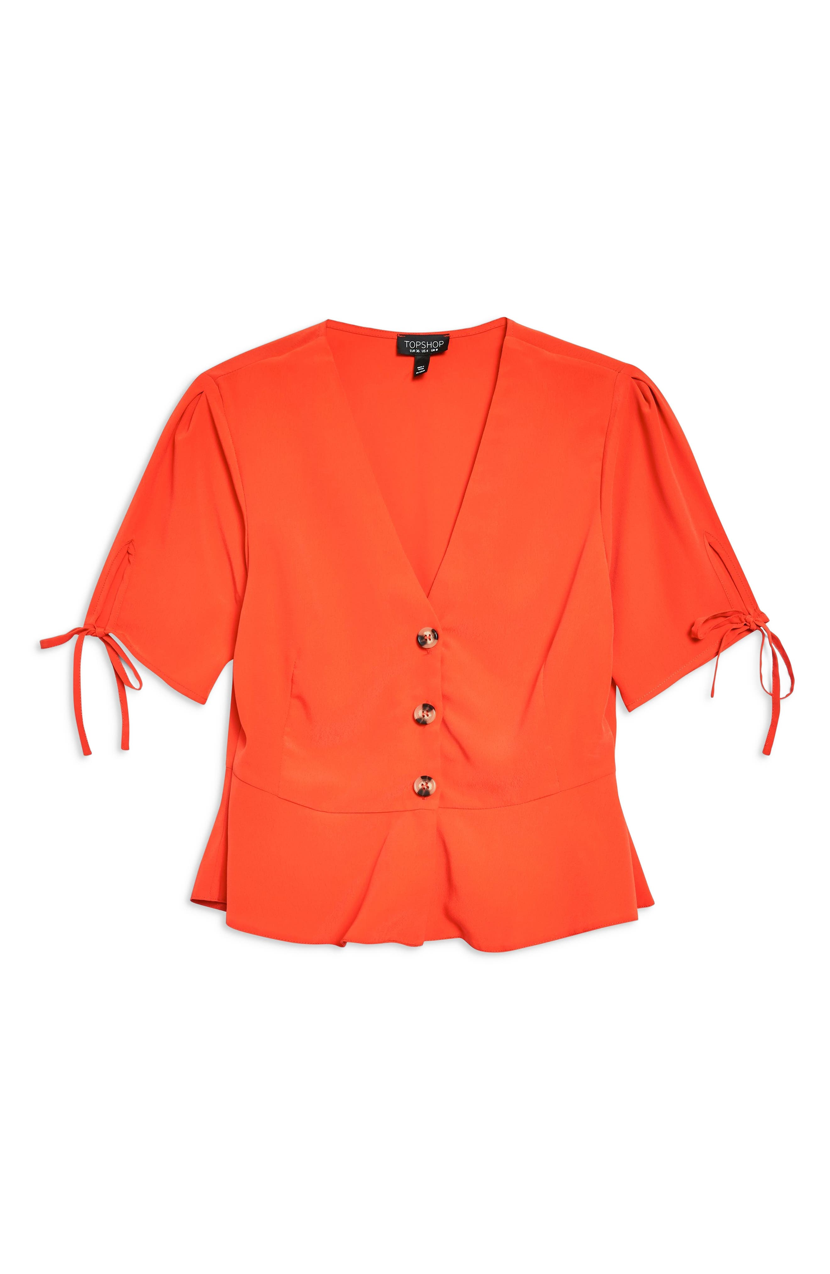 Bryony Tea Button Front Blouse,                             Alternate thumbnail 3, color,                             Red