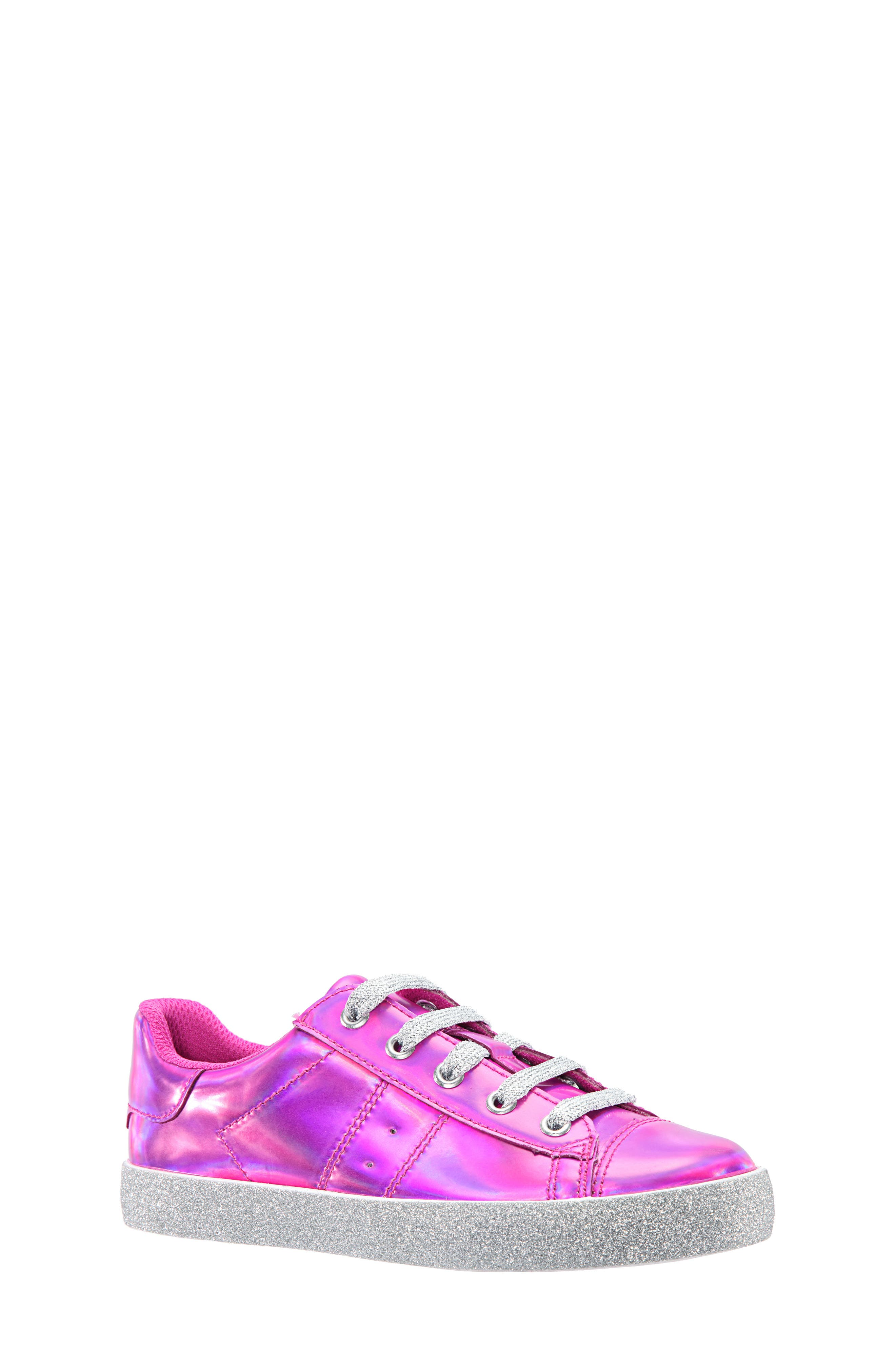 Jovana Glitter Low-Top Sneaker,                             Main thumbnail 1, color,                             Pink Patent