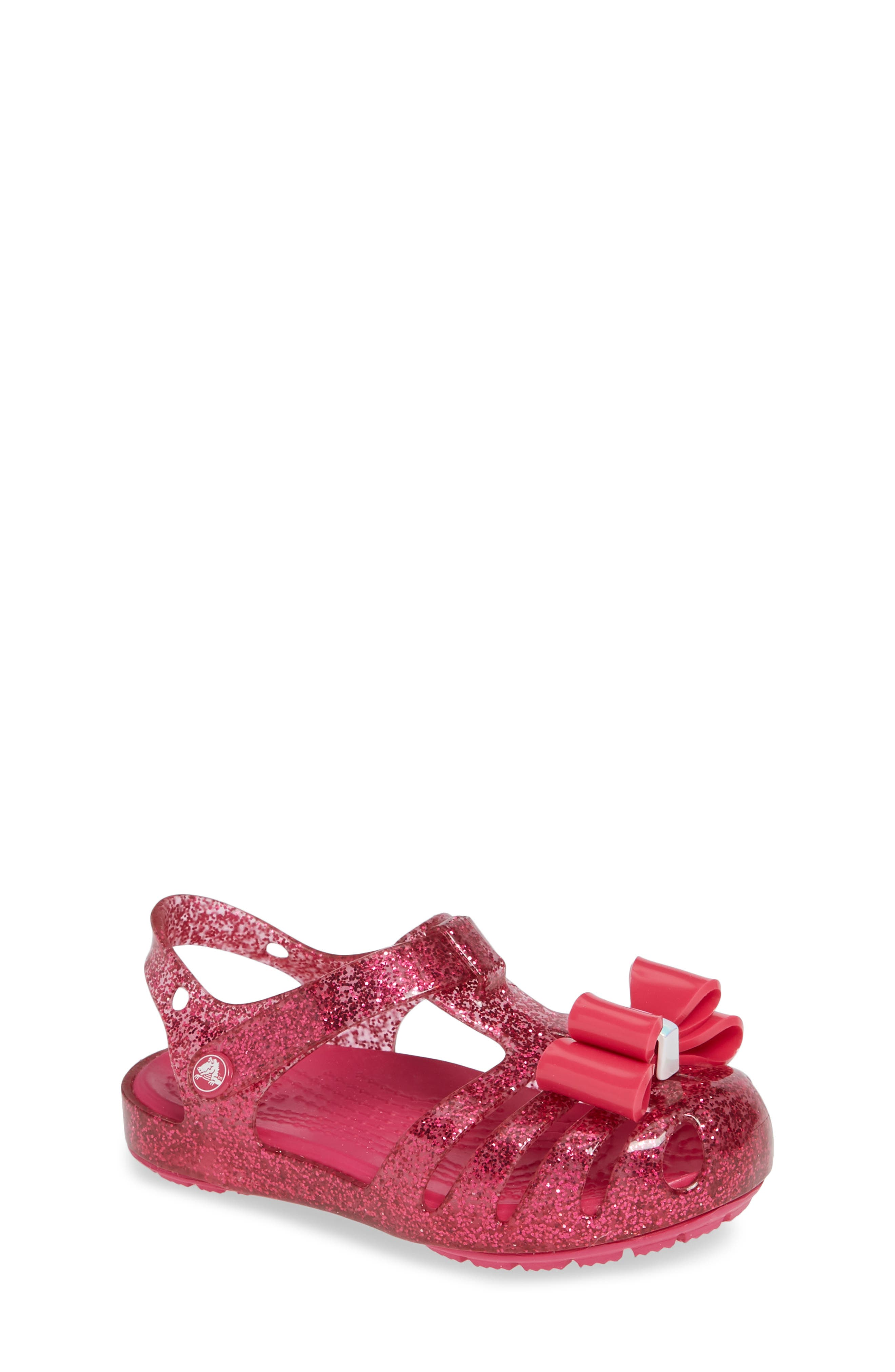 Isabella Bow Glitter Fisherman Sandal,                         Main,                         color, Candy Pink