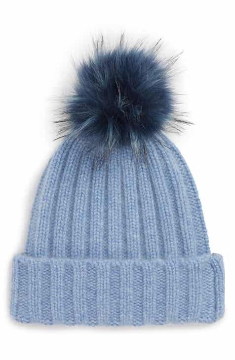 4be1a872a00 Halogen® x Atlantic-Pacific Cashmere Beanie with Faux Fur Pom