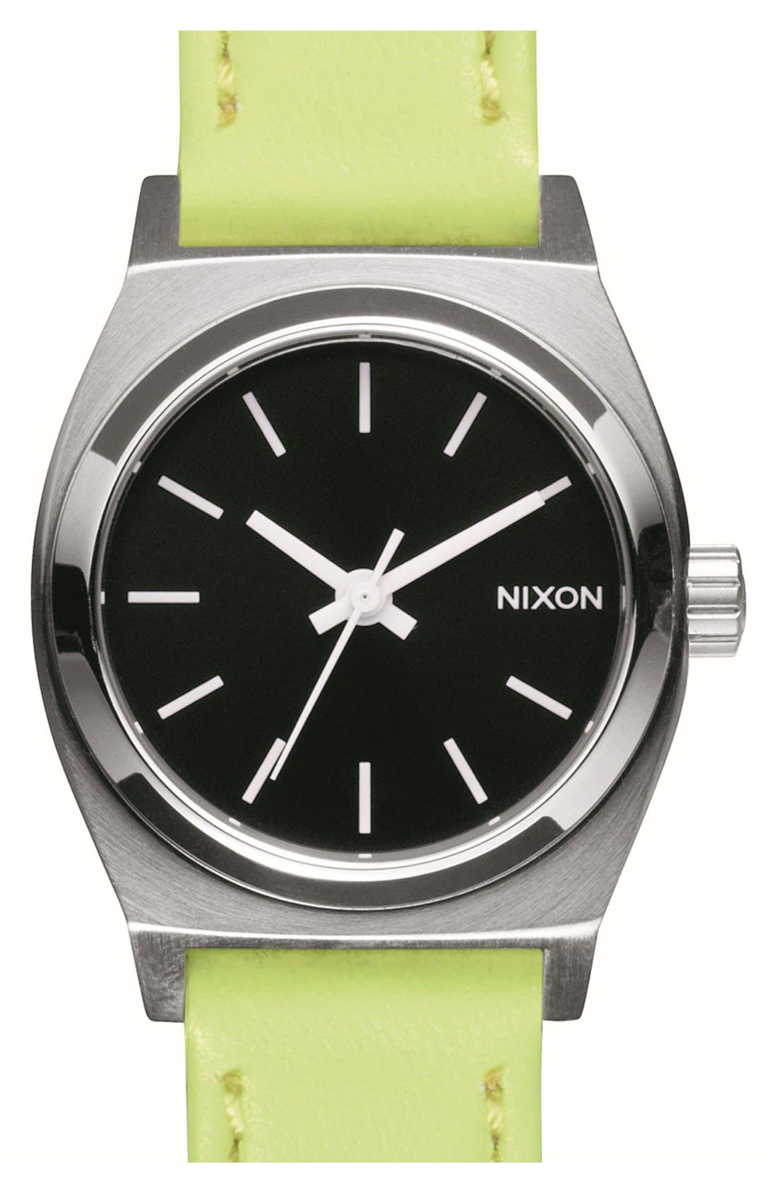 Alternate Image 1 Selected - Nixon 'Small Time Teller' Leather Strap Watch, 26mm