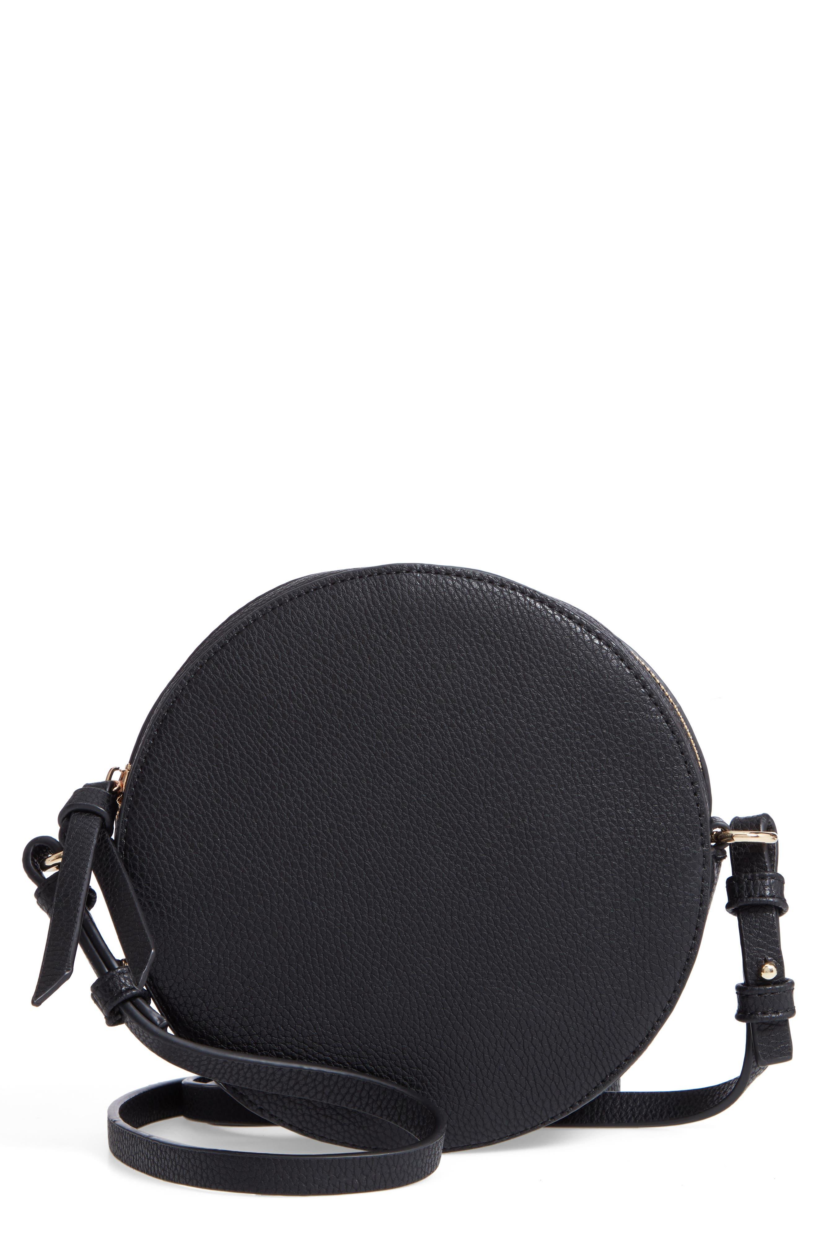 Cassie Faux Leather Circle Crossbody Bag,                             Main thumbnail 1, color,                             Black