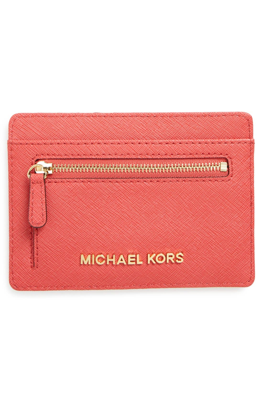 Main Image - MICHAEL Michael Kors \u0027Jet Set\u0027 Saffiano Leather Card Case
