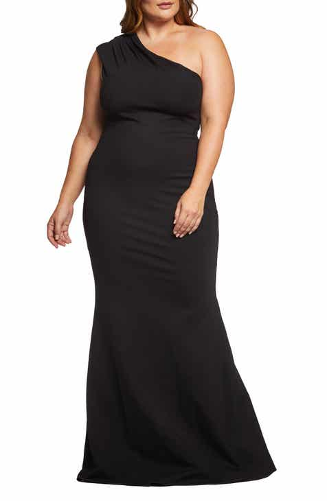 b963a7ff95e Dress the Population Eva One-Shoulder Gown (Plus Size)