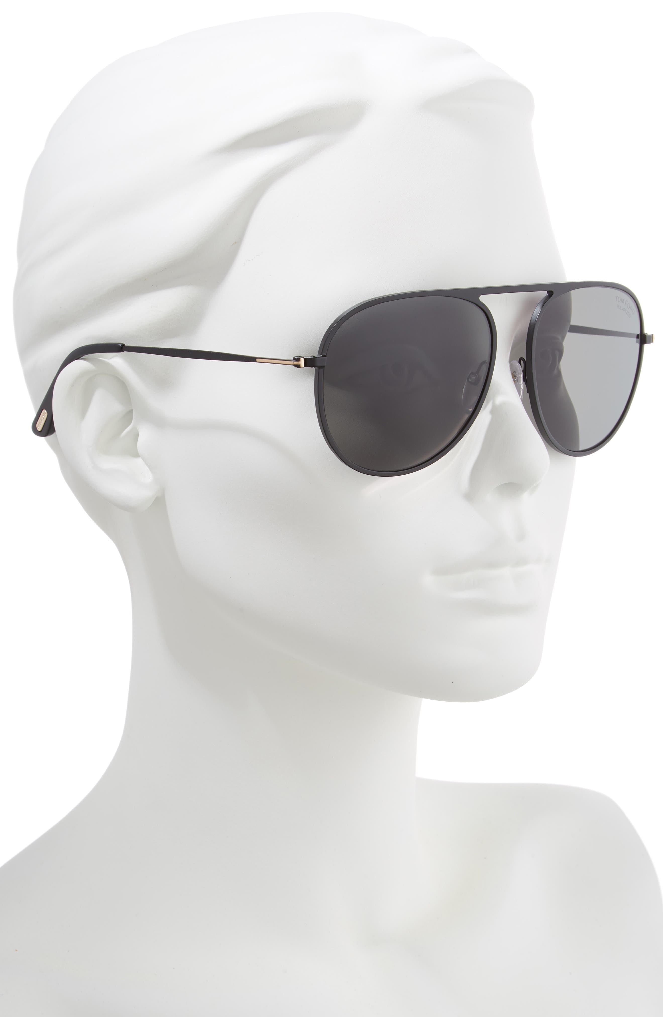 59mm Aviator Sunglasses,                             Alternate thumbnail 2, color,                             Black Matte Frame/ Black