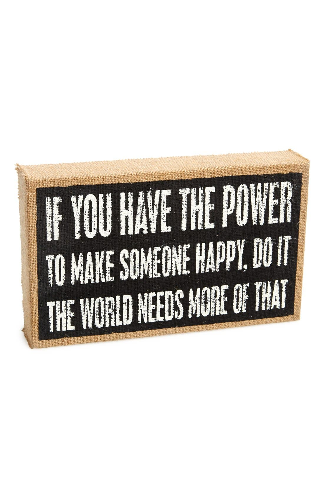 Alternate Image 1 Selected - Primitives by Kathy 'Make Someone Happy' Burlap Box Sign