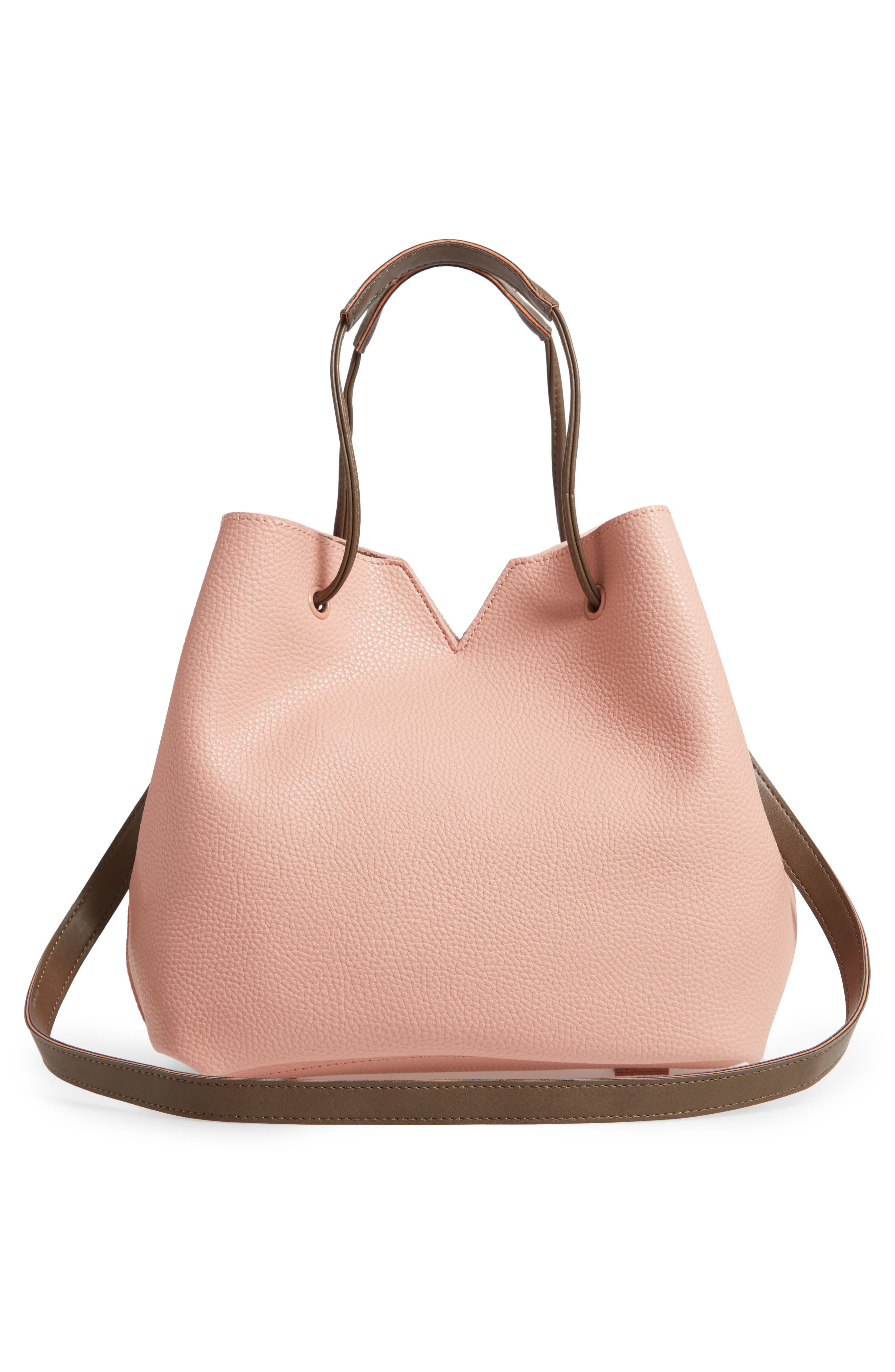 Jasmine Faux Leather Hobo,                             Alternate thumbnail 5, color,                             Dusty Pink