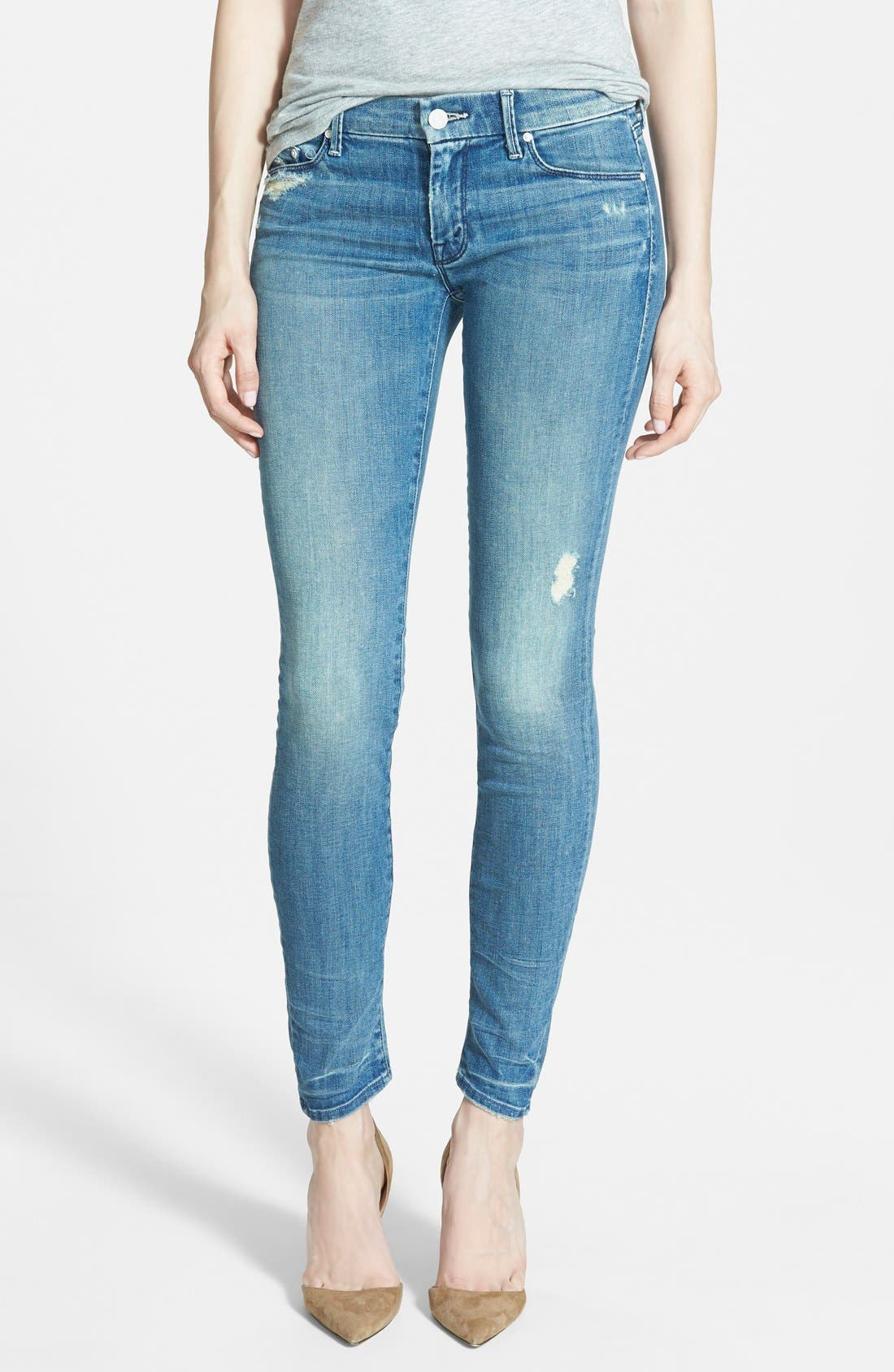Main Image - MOTHER 'The Looker' Skinny Stretch Jeans (Graffiti Girl)