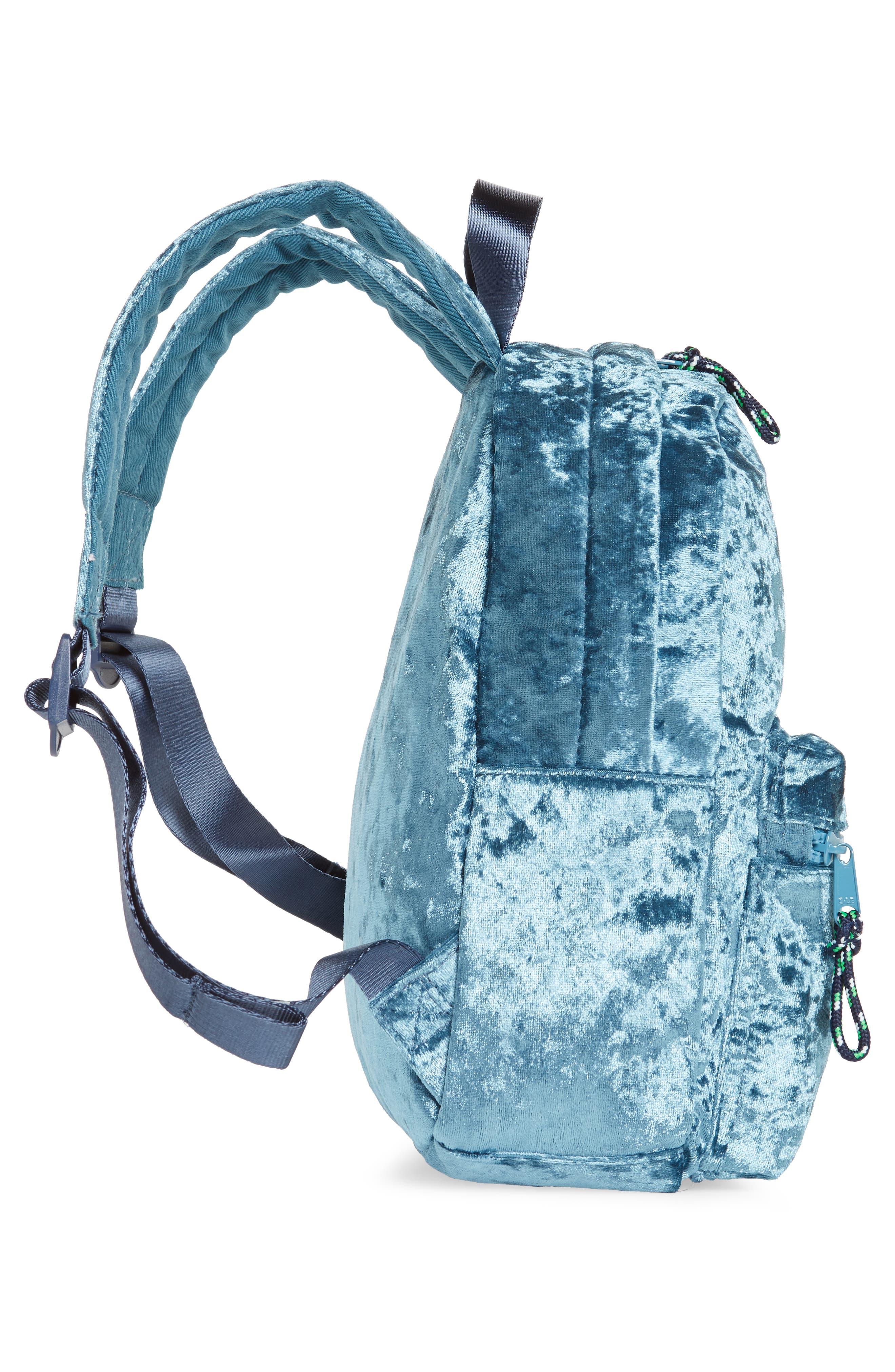 Crushed Velvet Backpack,                             Alternate thumbnail 3, color,                             Brilliant Turquoise